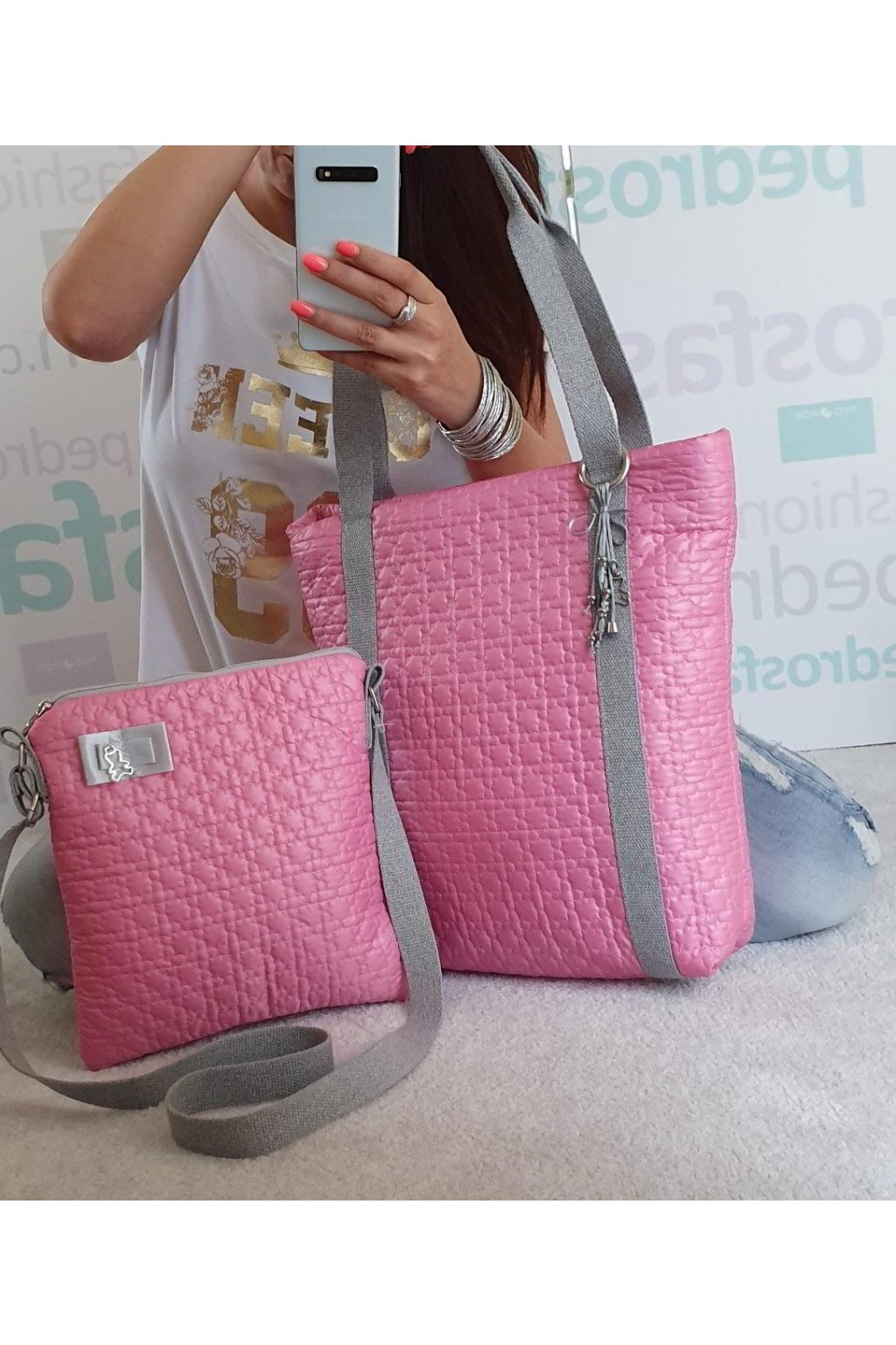 Komplet kabelek růžový