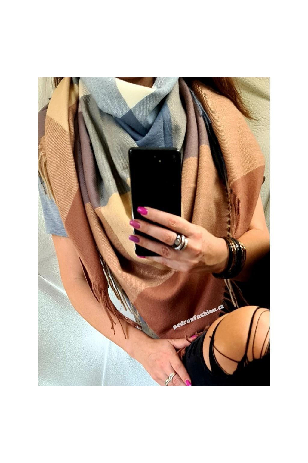 maxi šátek hřejivý torino hnědý