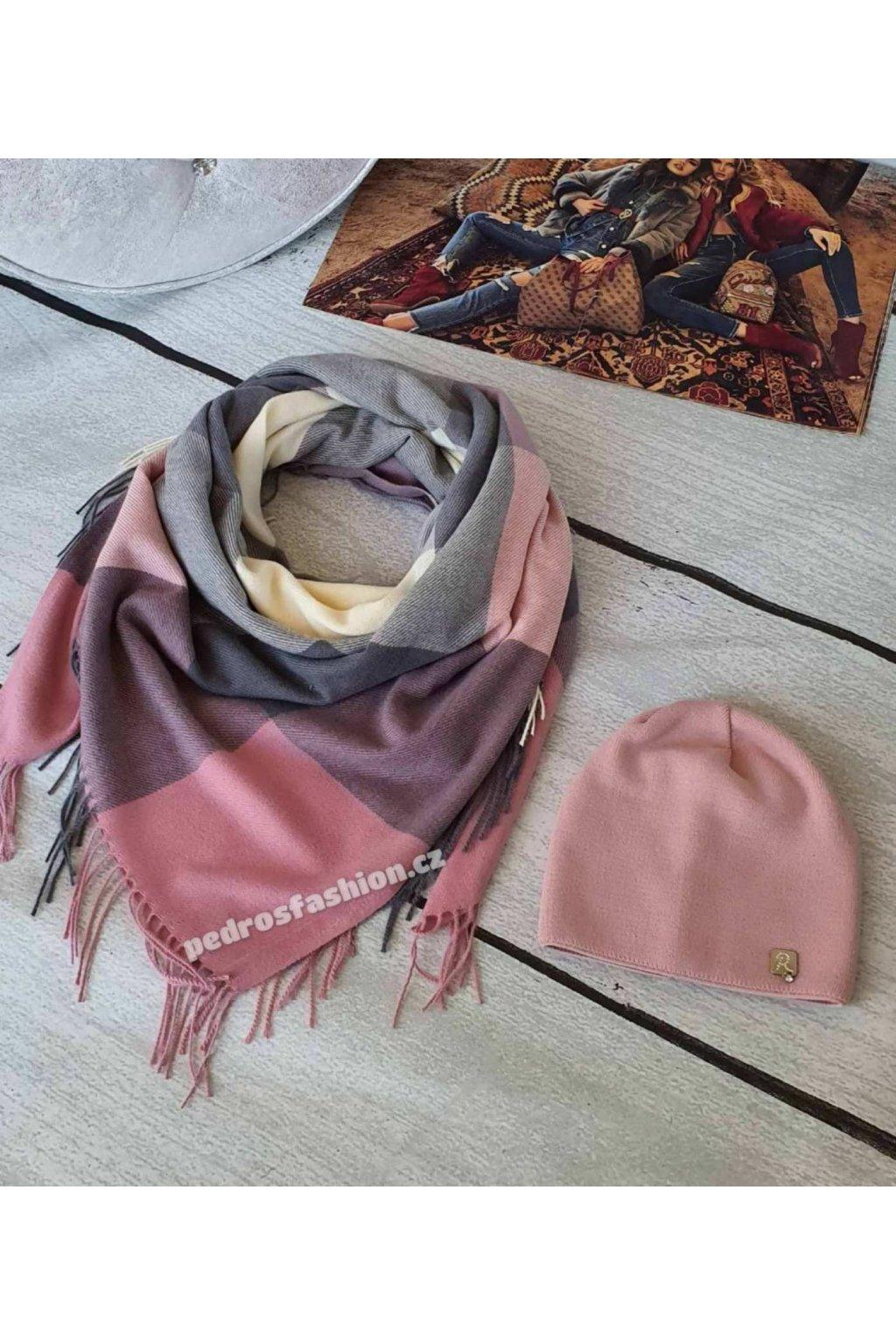 Sladěný set čepice a šátku v kombinaci růžové a šedé barvy