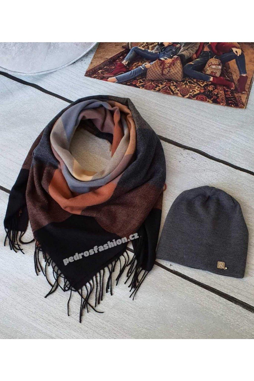 Sladěný set čepice a šátku v kombinaci hnědé, černé a šedé barvy