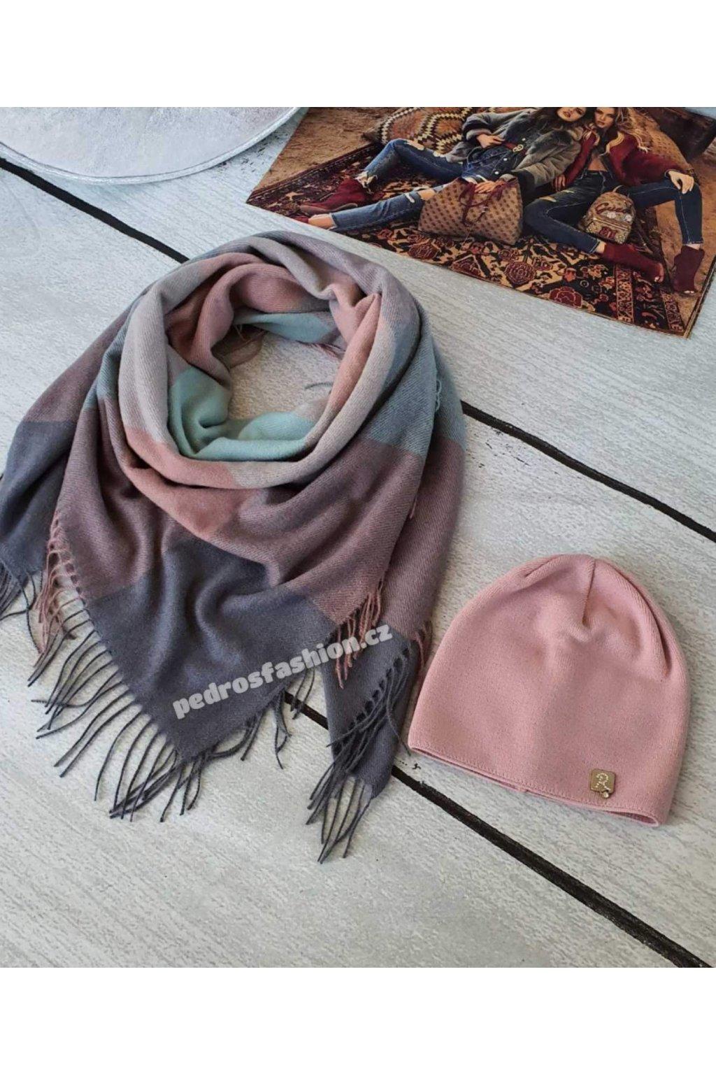 Sladěný setčepice a šátku v kombinaci šedé, růžové a mentolové barvy II