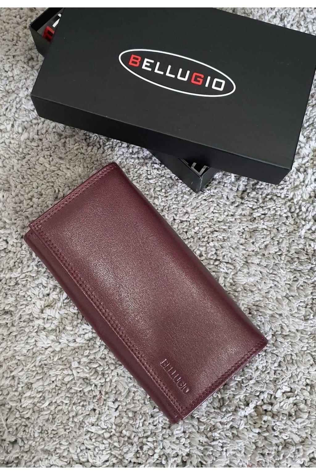Dámská vínová kožená peněženka