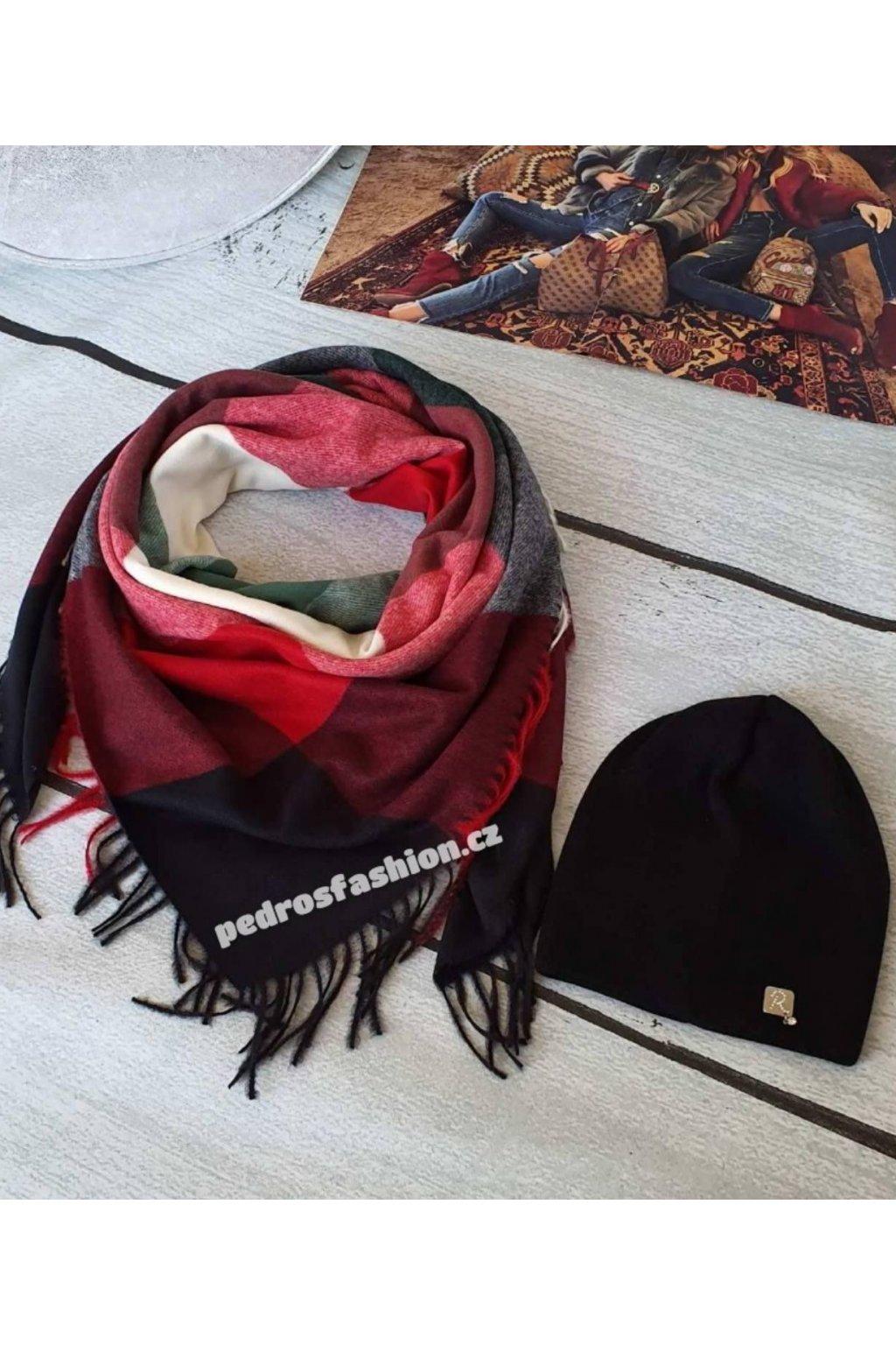 Sladěný set čepice a šátku v černo červené barvě