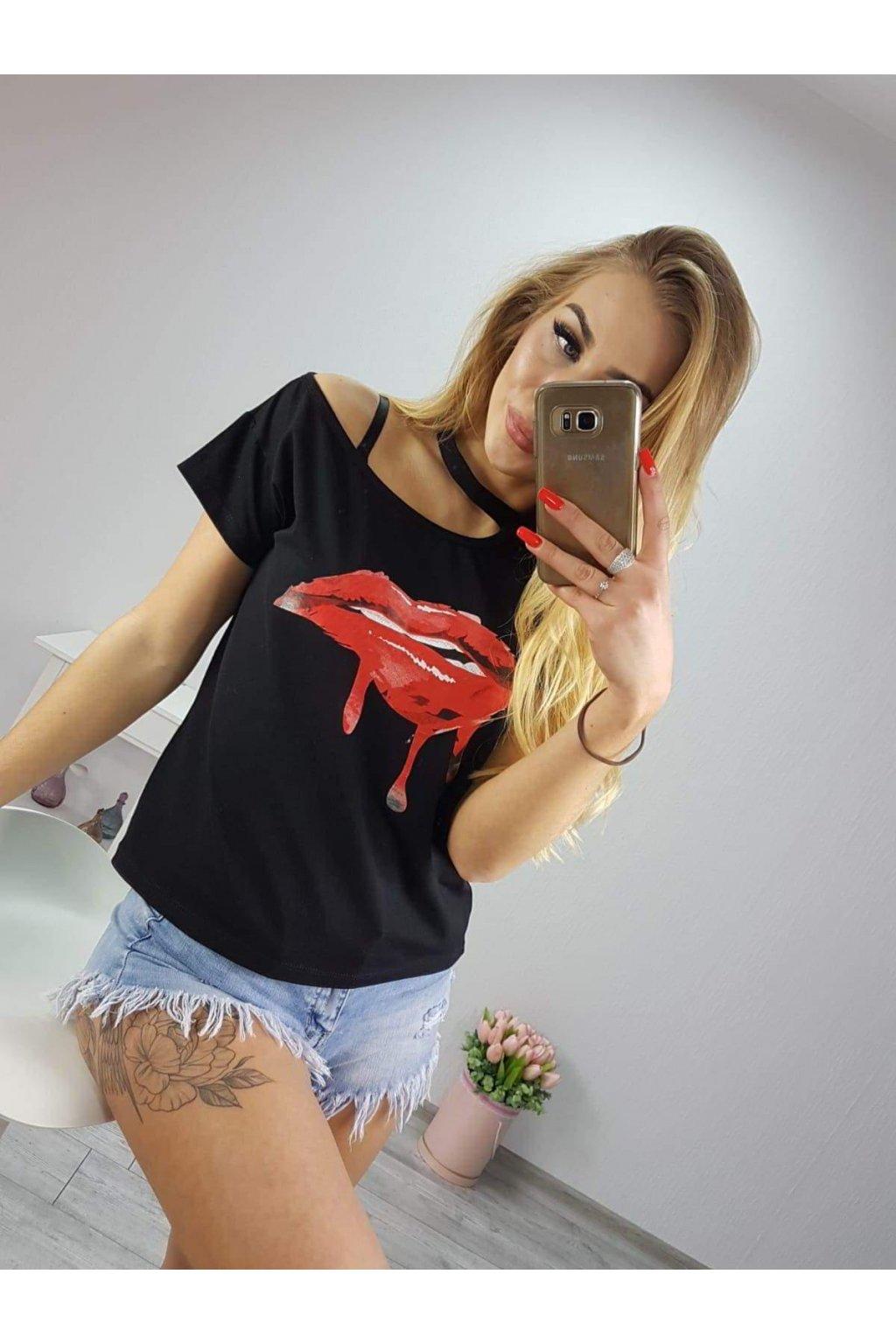 Damské tričko Kiss černé