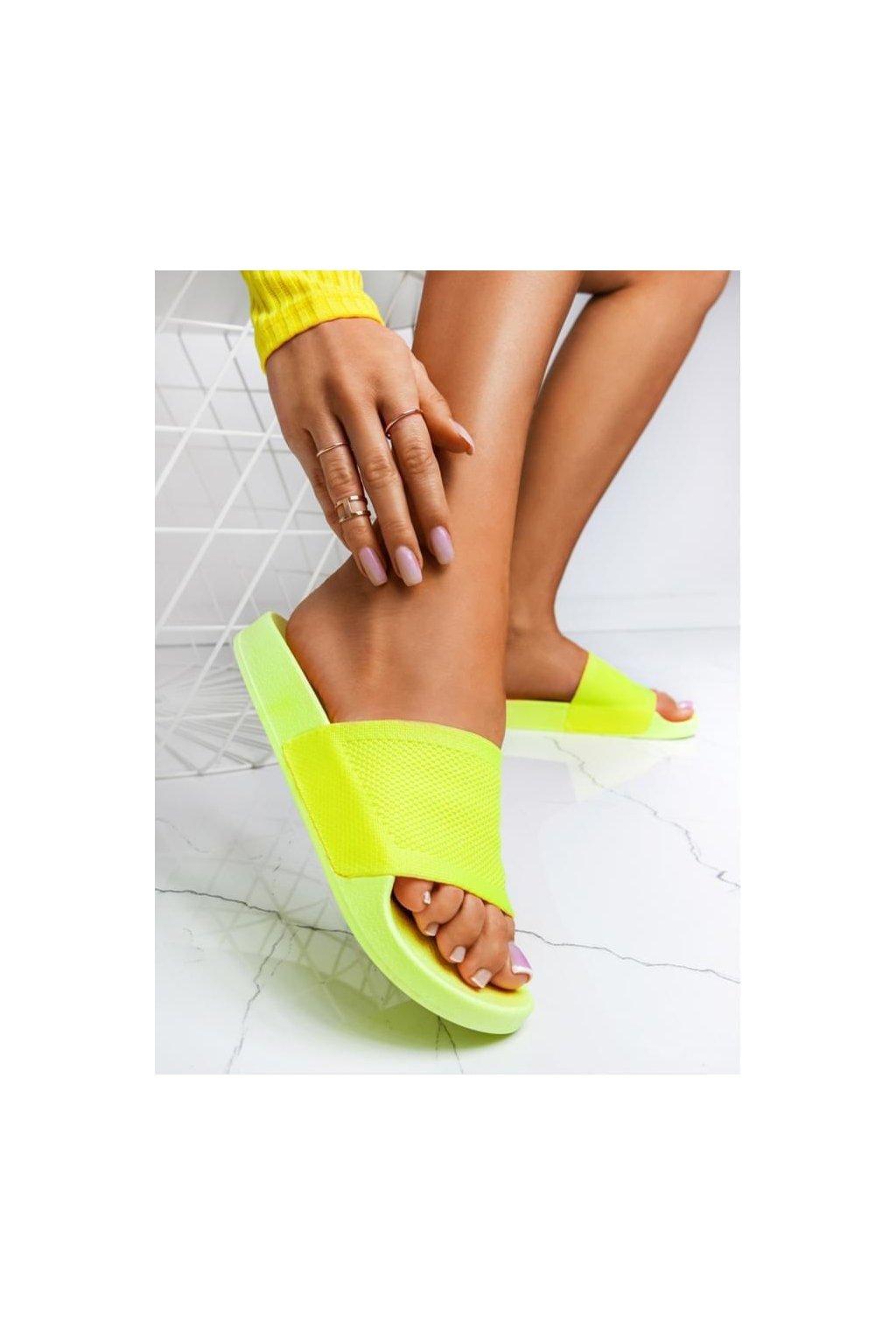 pantofle thalie látkové pohodlné trendy neon žluté