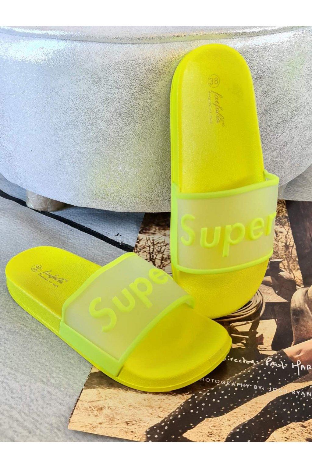 pantofle super neon žluté trendy