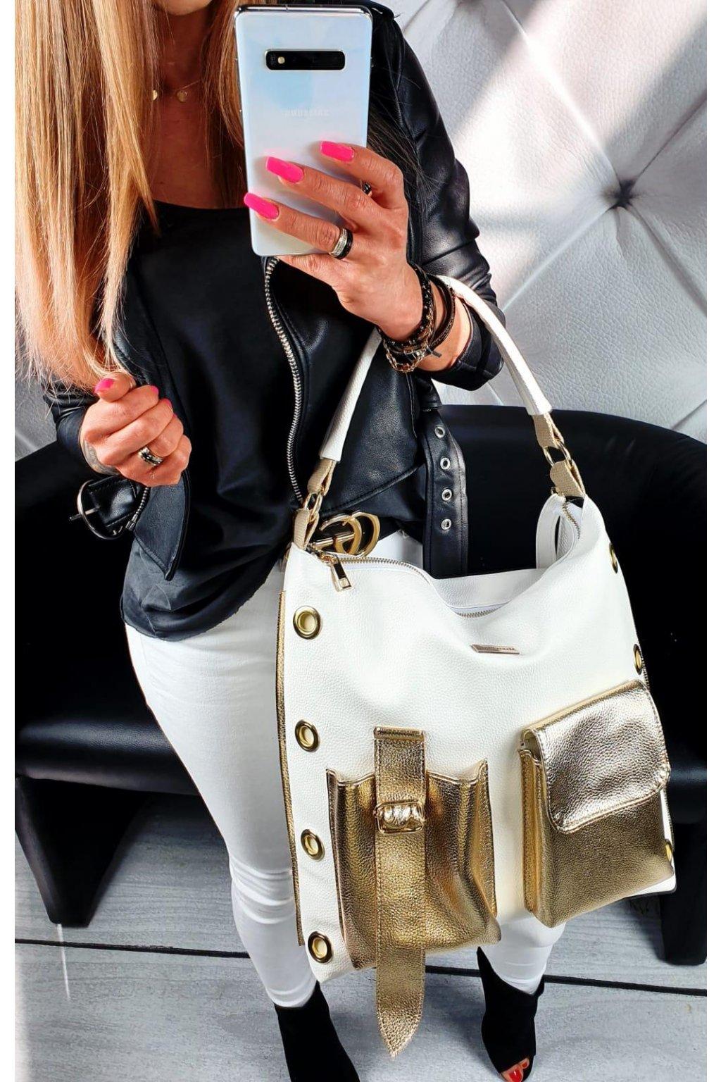 Hekrys trendy kabelka bílo zlatá eko kůže koženka