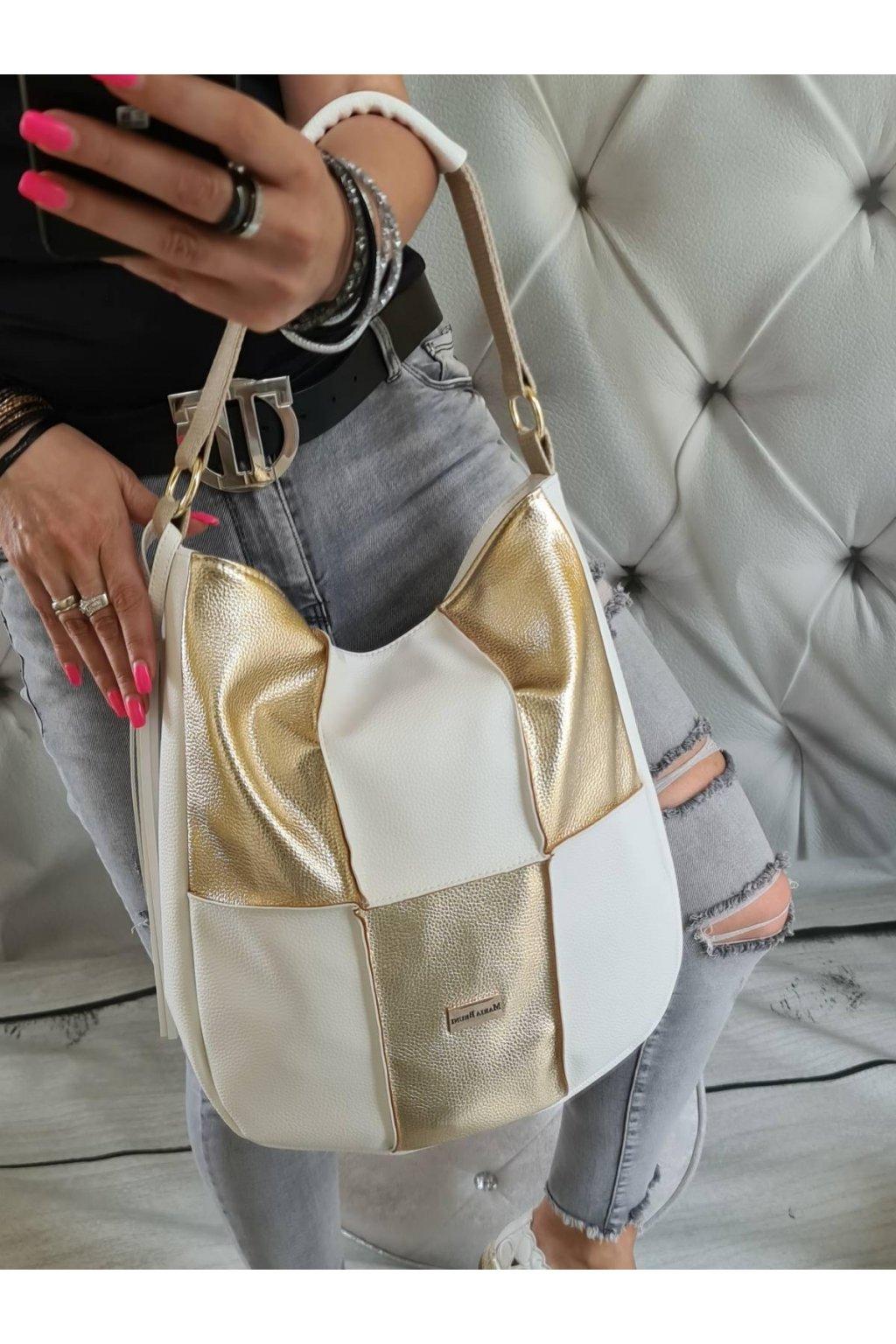 clare trendy letní kabelka bílo zlatá eko kůže koženka (2)