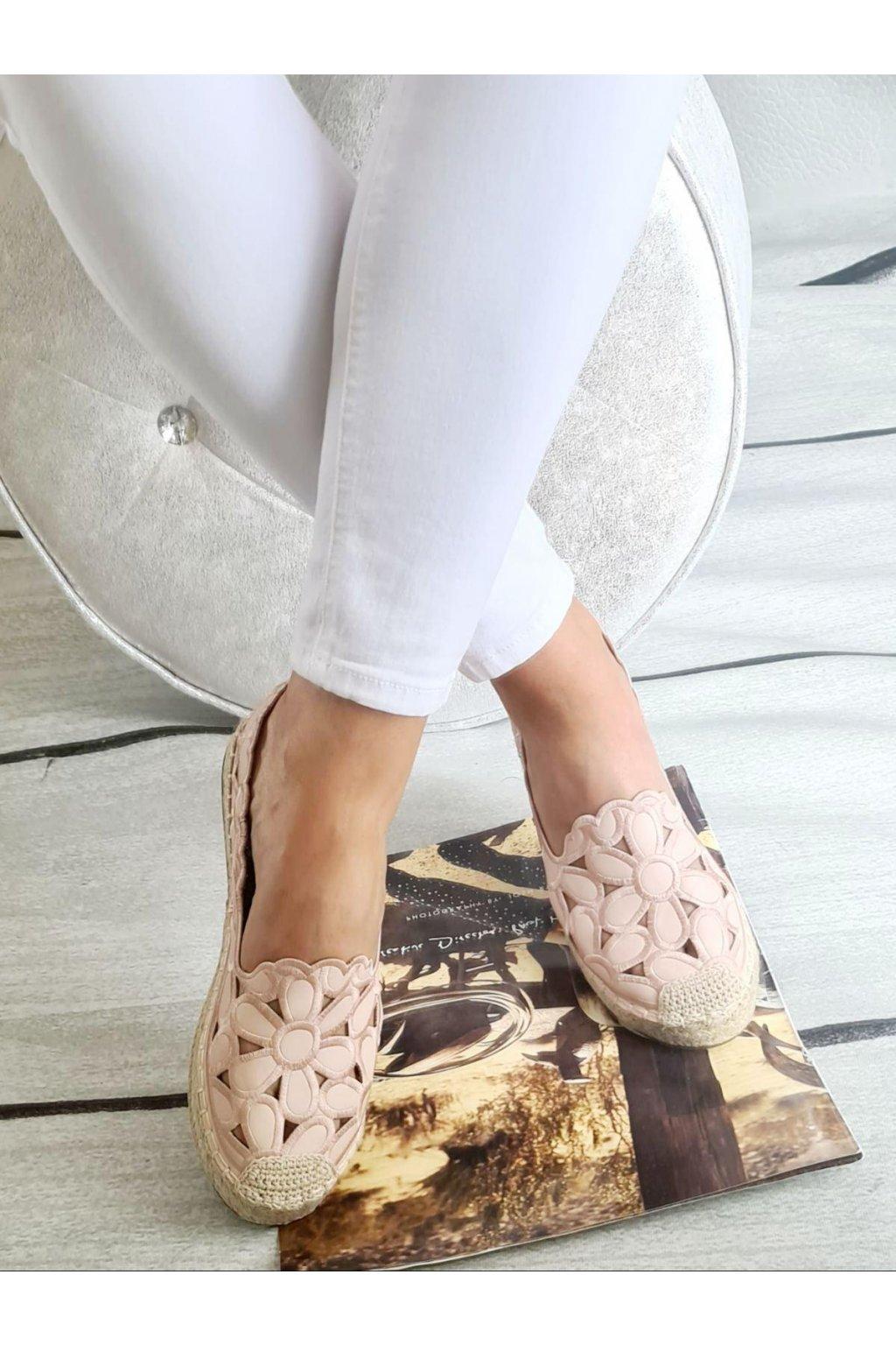 Espadrylky růžové krajkové letní pohodlné trendy