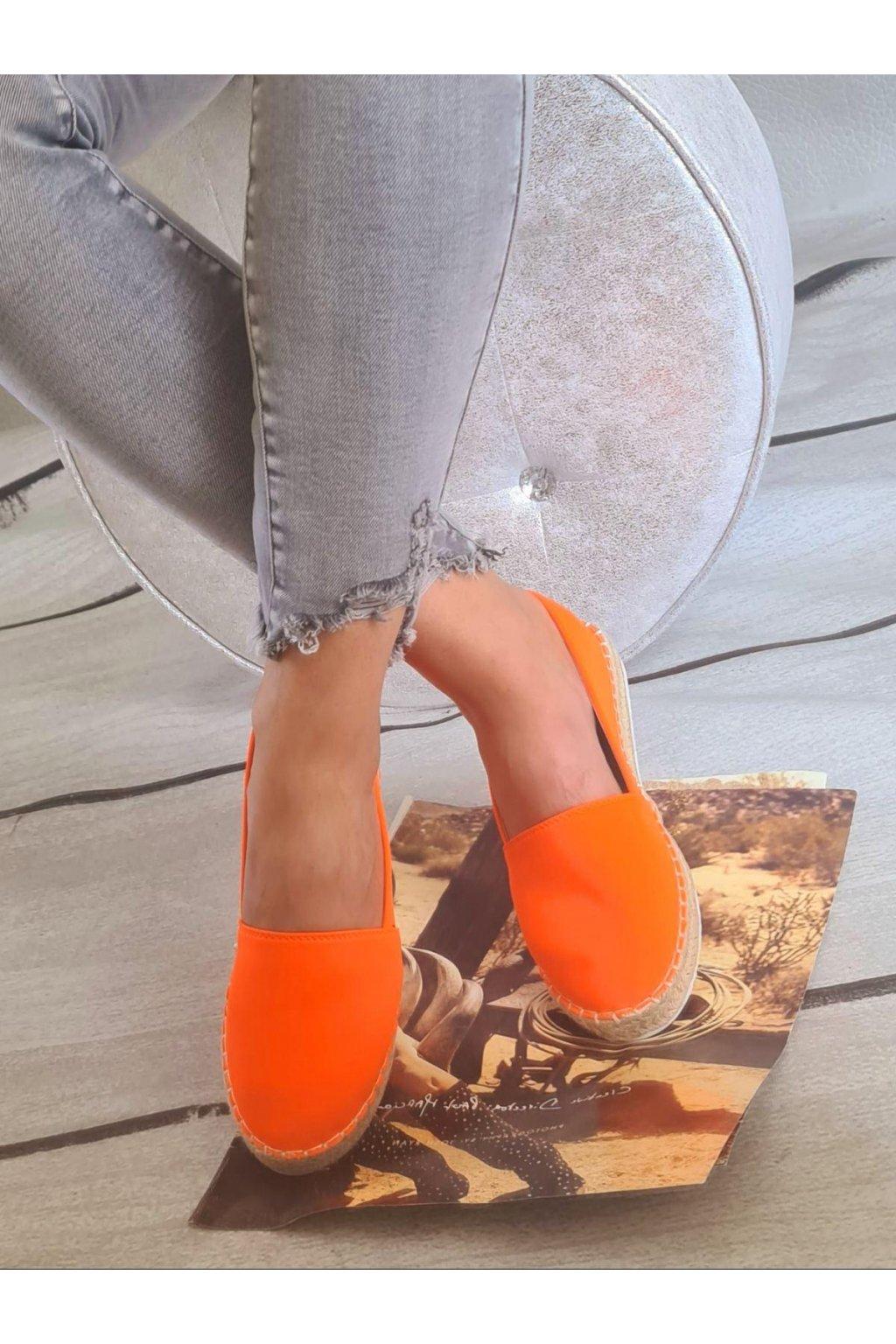 espadrylky neon oranžové letní látkové