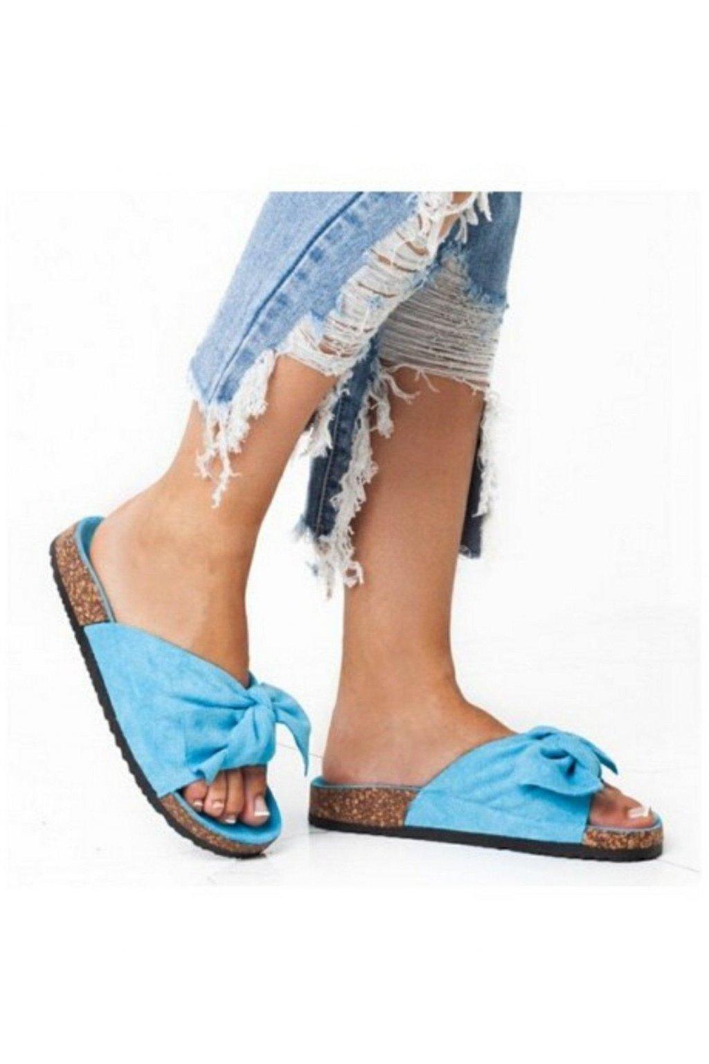 Letní pantofle s mašlí tyrkysové