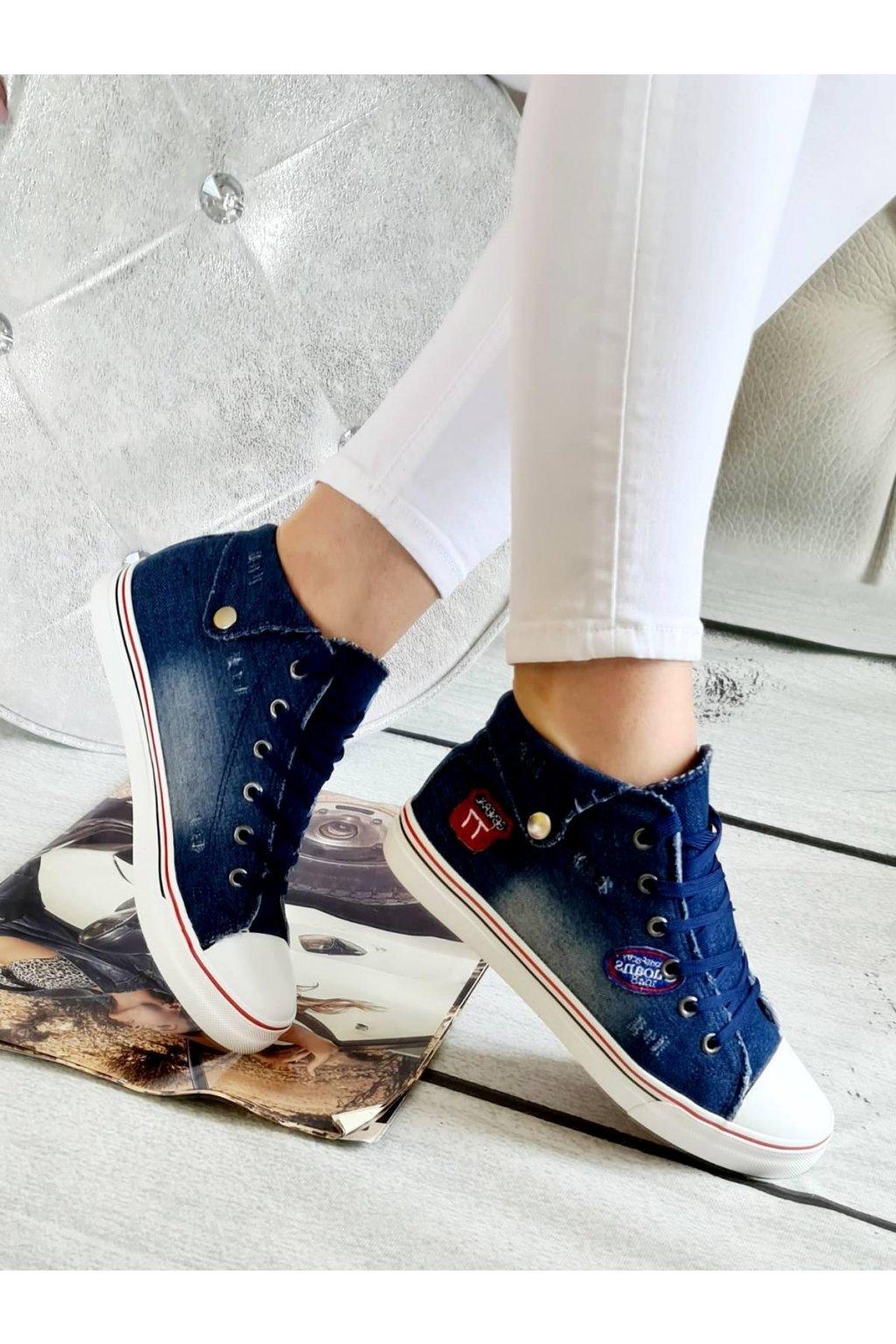 tenisky jeans modré plátěnné