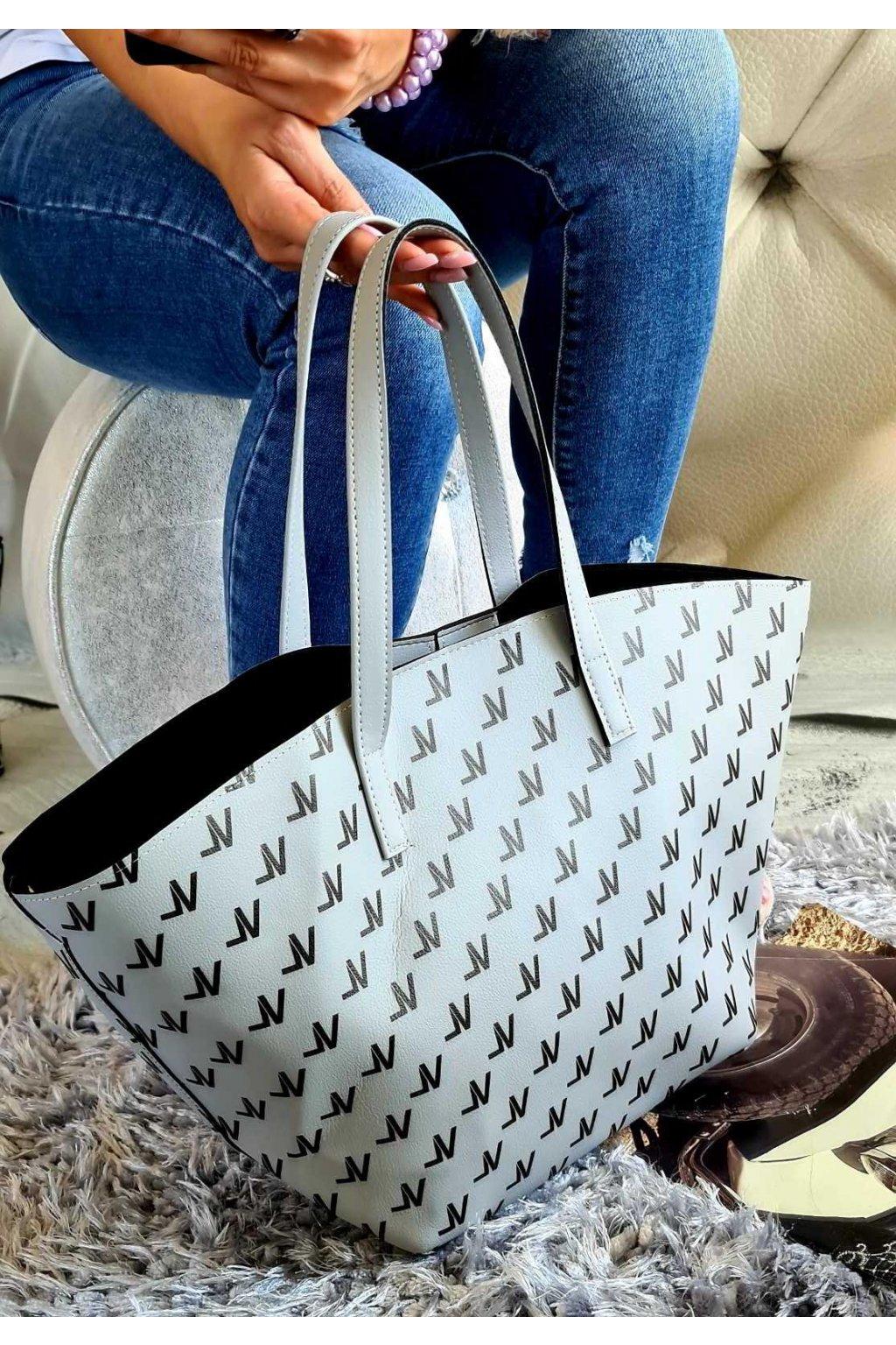 kabelka valentino šedá trendy koženka kůže šedobílá