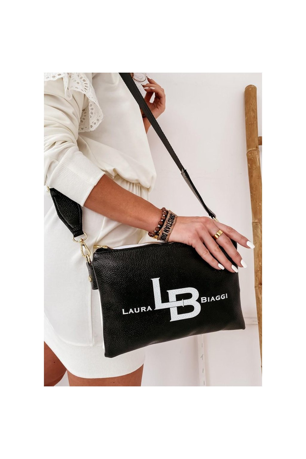 crossbody silvie kabelka oboustraná černo bílá
