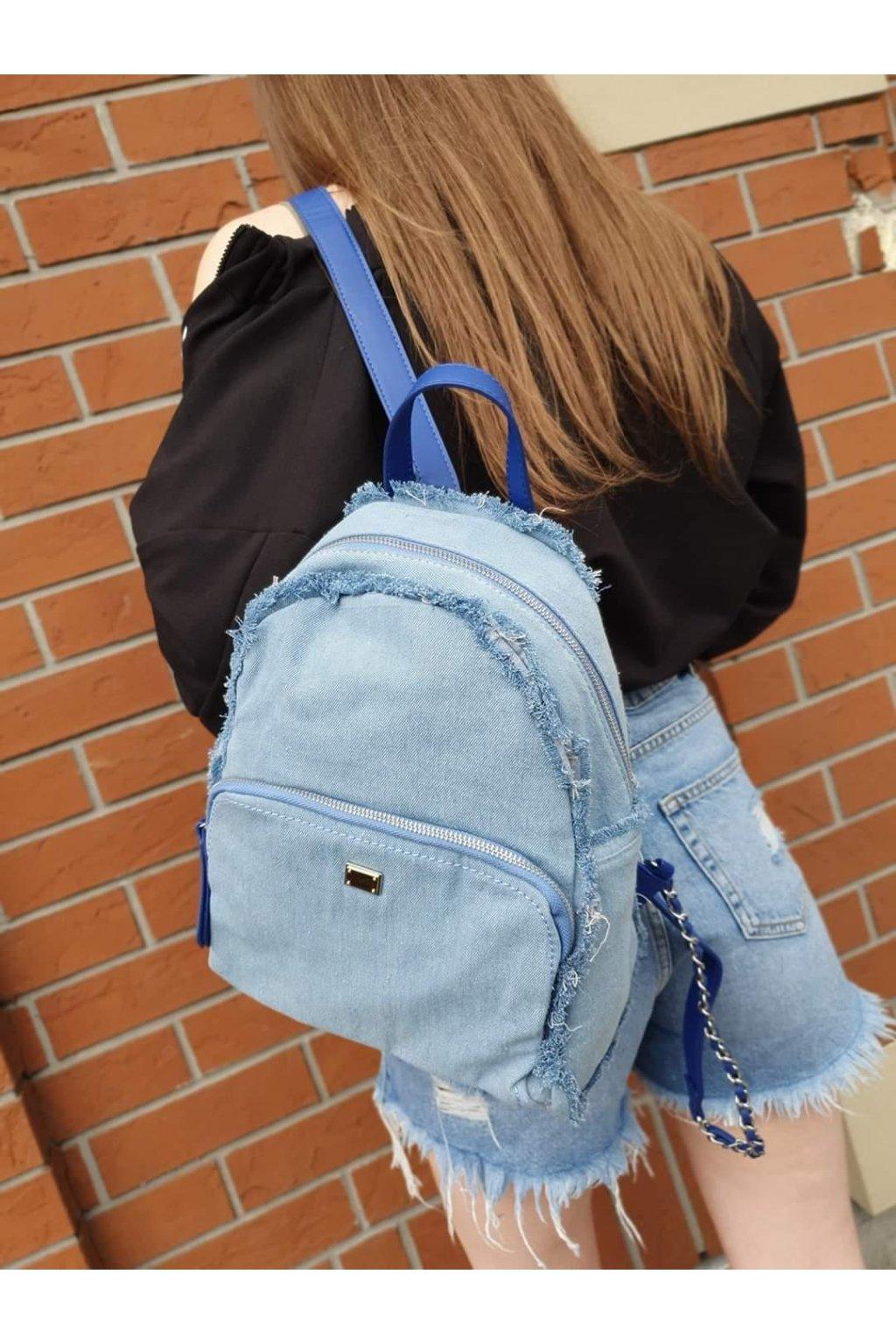 batoh jeans světle modrý