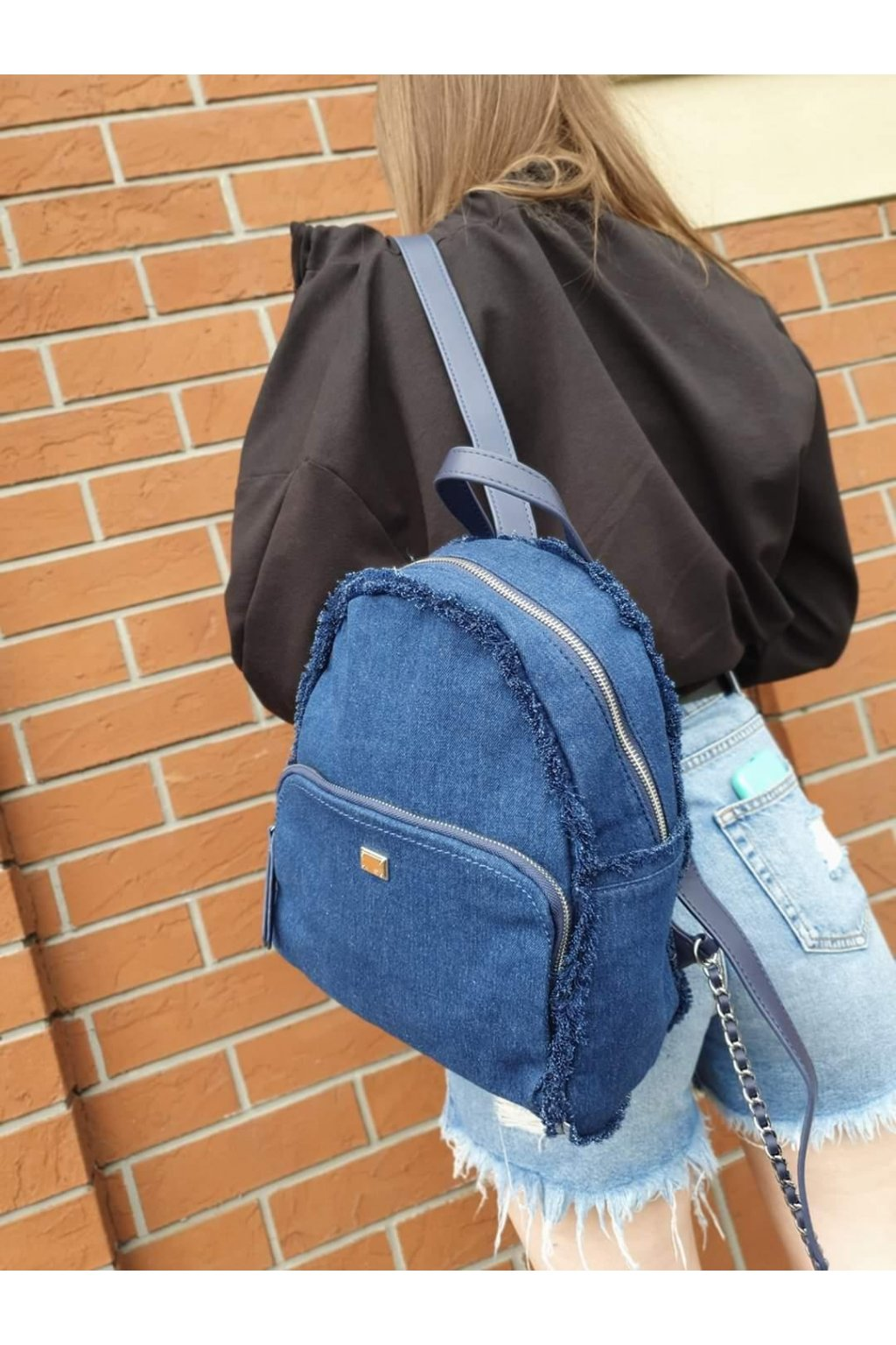 batoh jeans tmavě modrý