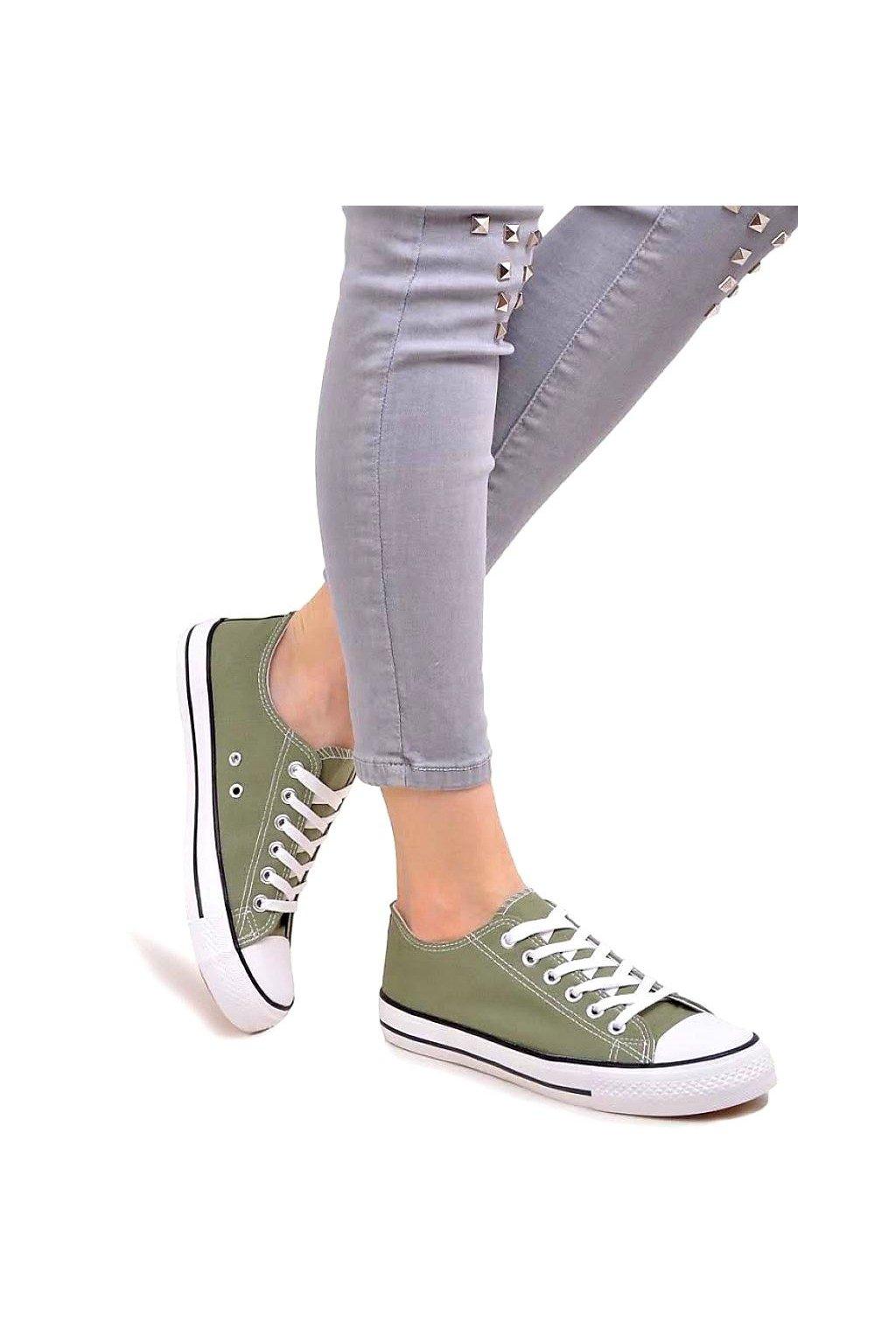 tenisky jersey plátěné convers khaki zelené