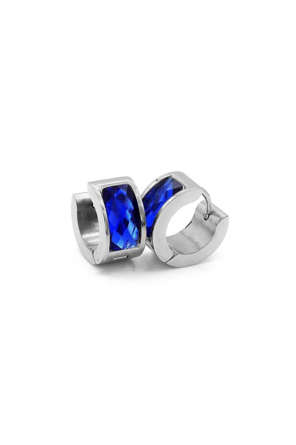 náušnice s modrým kamínkem chirurgická ocel