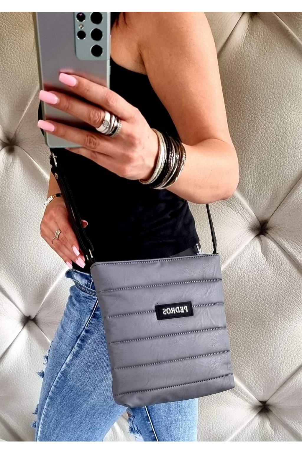CROSSBODY MELISA šedá nadčasová značková kabelka pedros
