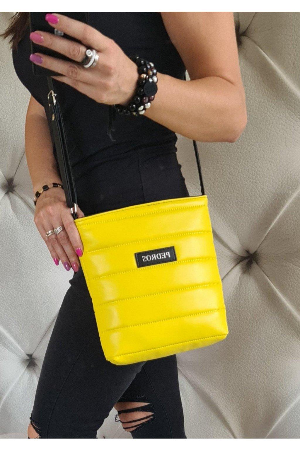 pedros melisa crossbody eko kůže nadčasová žlutá kabelka sportovní