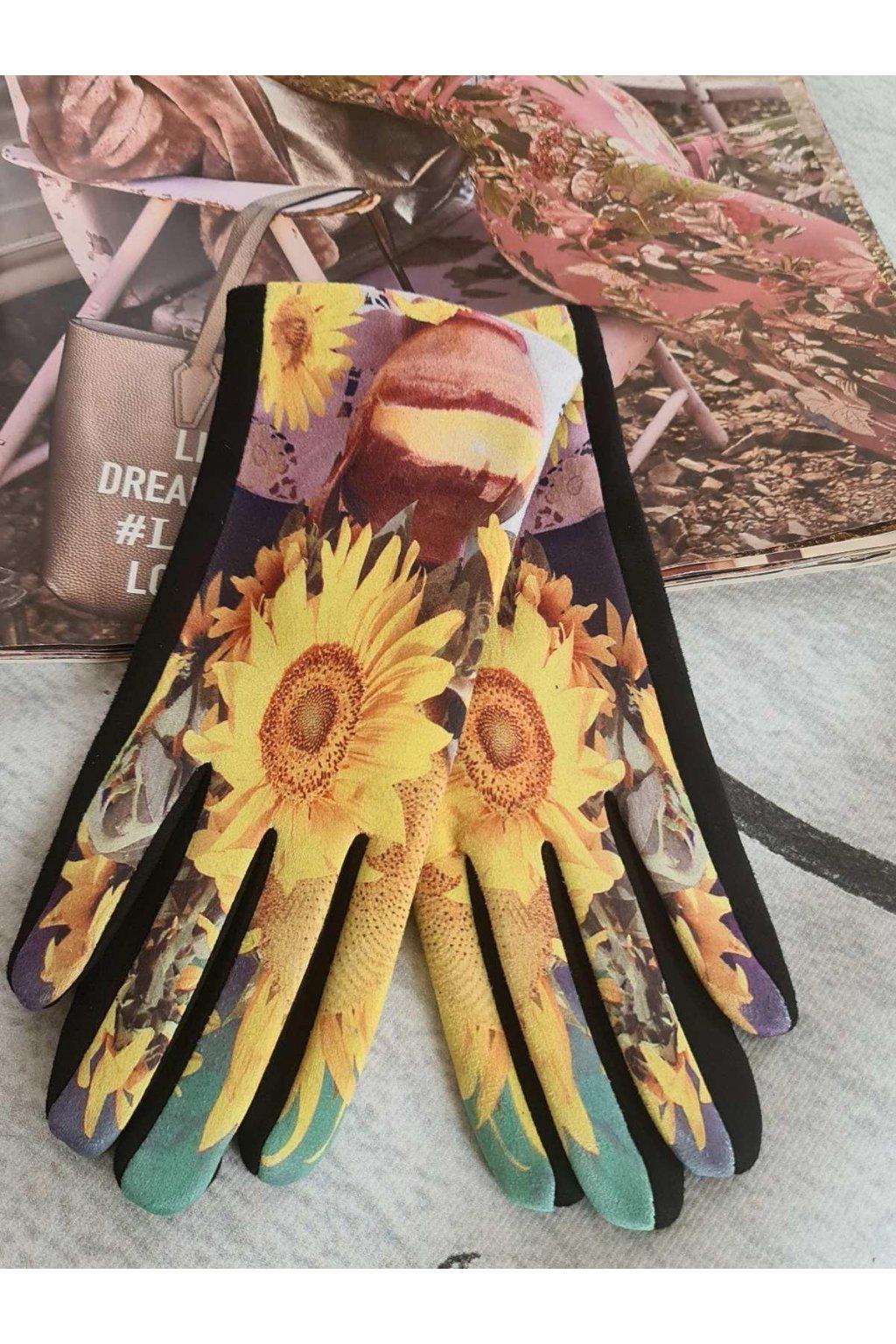 Rukavice dámské dárkové Slunečnice