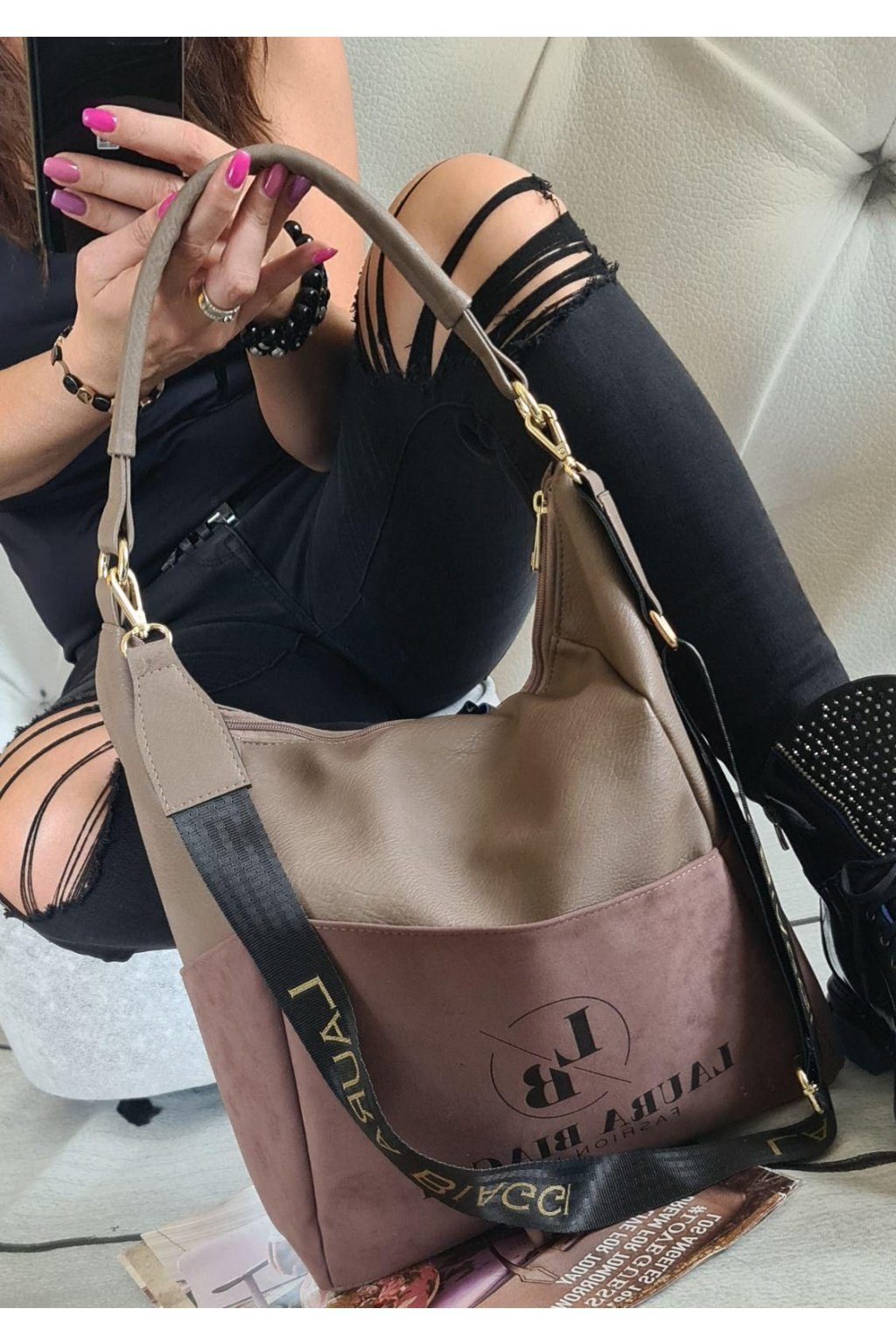 Kabelka Laura Biaggi Fashion hnědá