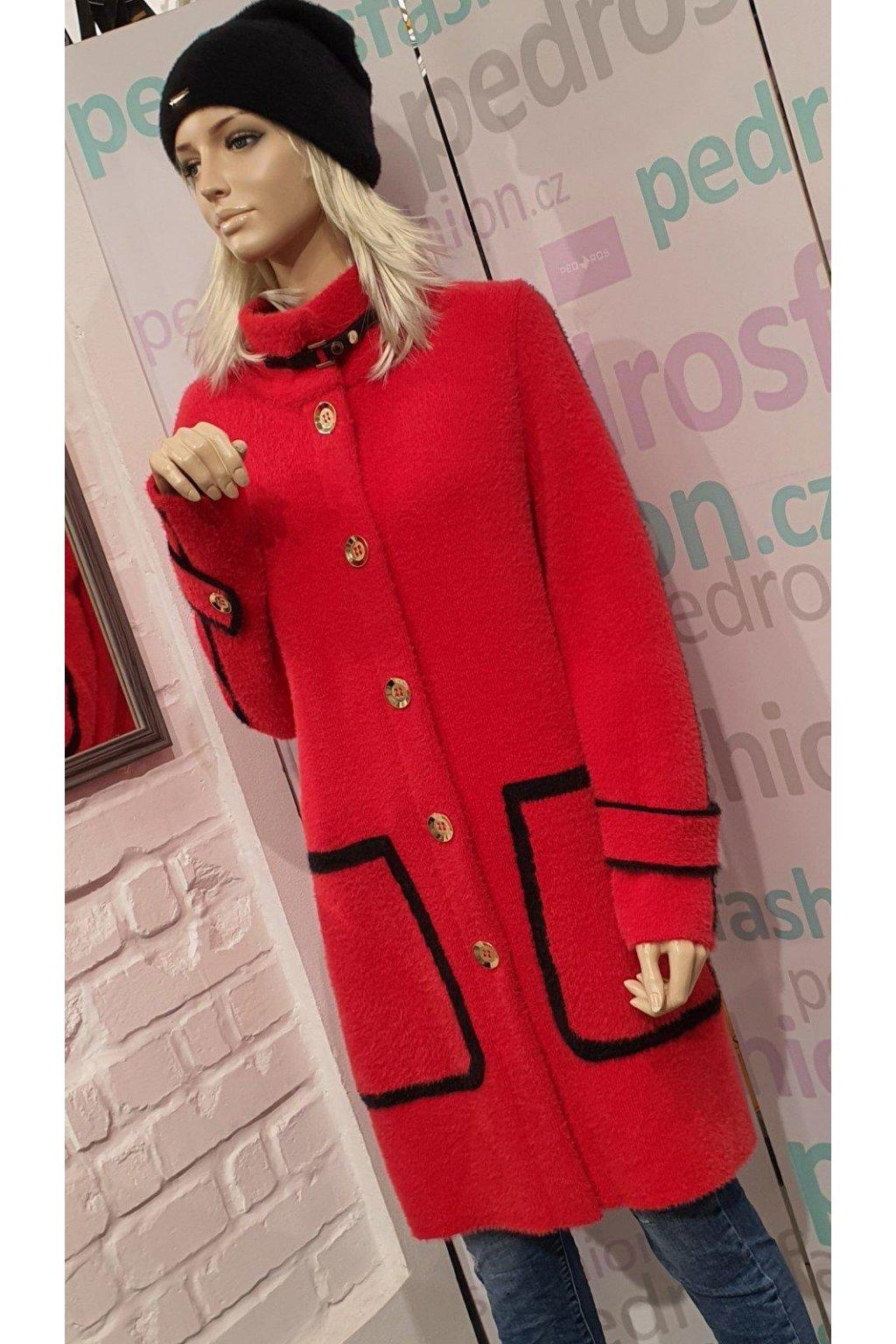 Dámský zimní kabát červený