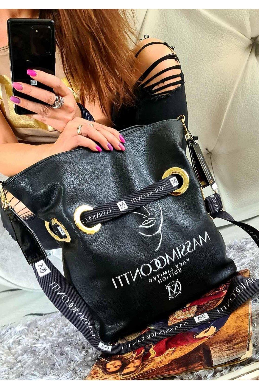 MASSIMO CONTTI vak černý style italy kabelka trendy