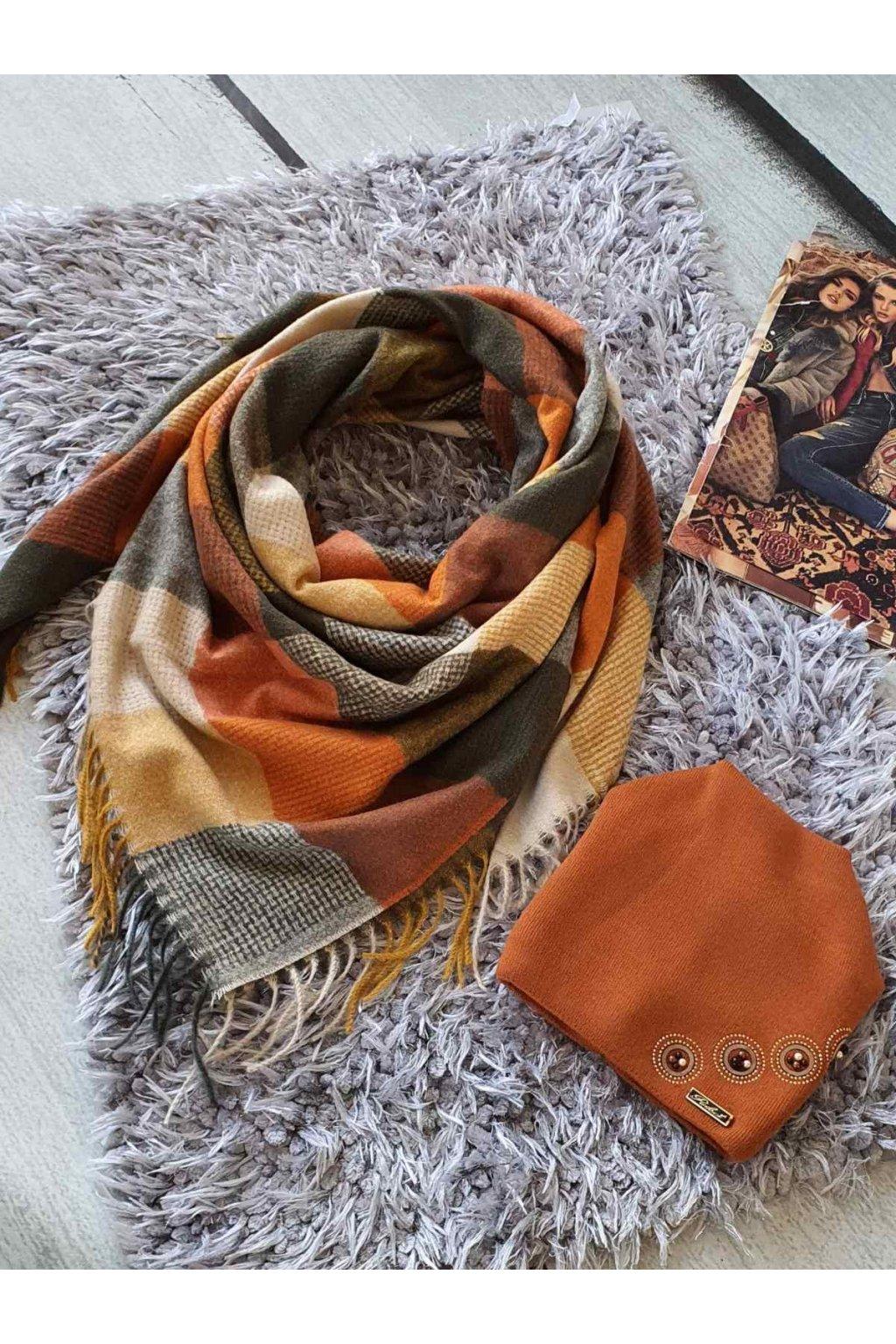 sladěný set kabelky a šátku v koňakové barvě tip na dárek vánoce