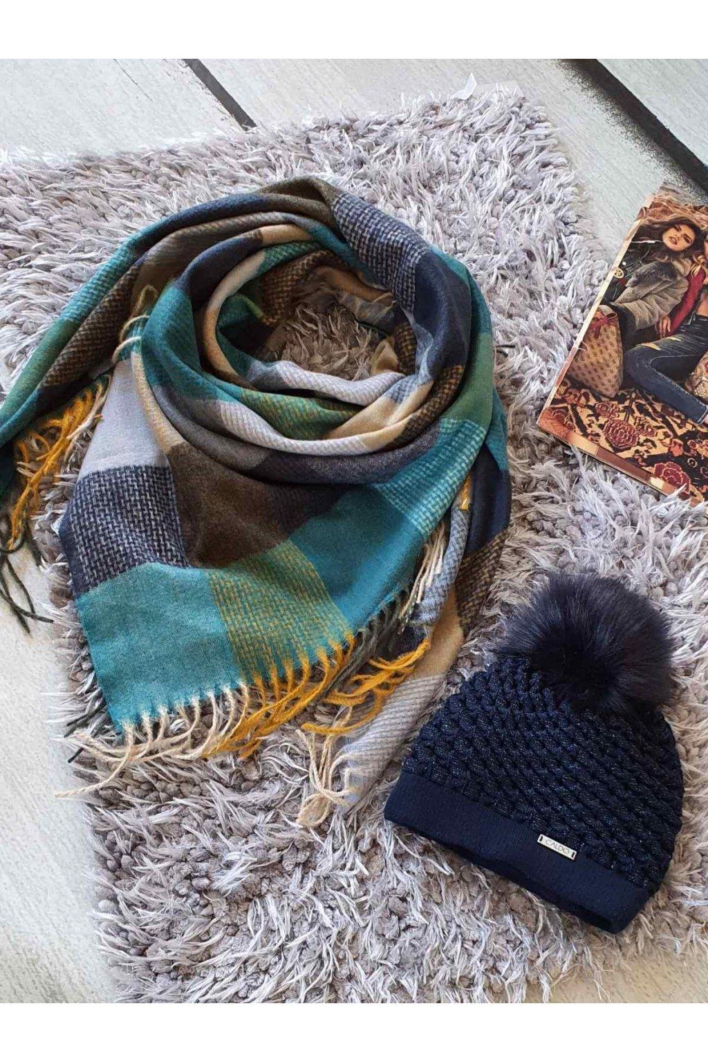 sladěný set kabelky a šátku v tmavě modrozelené barvě tip na dárek vánoce