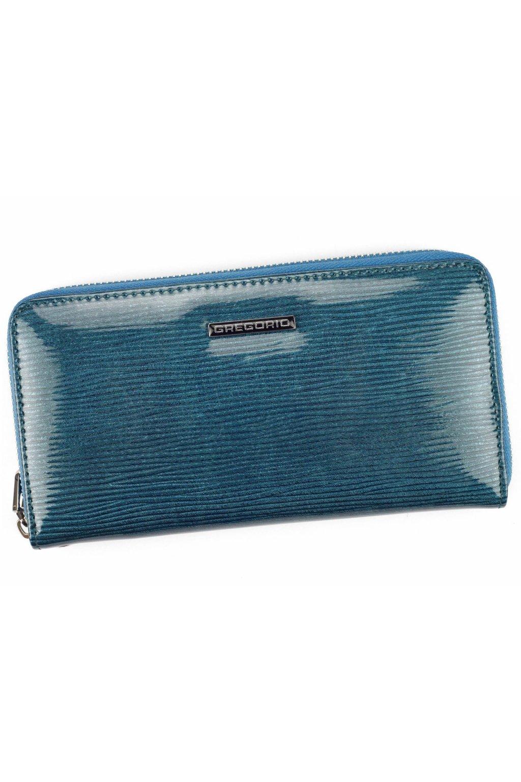 Lakovaná kožená peněženka modrá