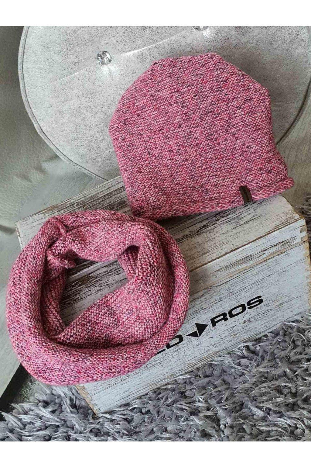 sladěný set čepice a šálky melír růžový