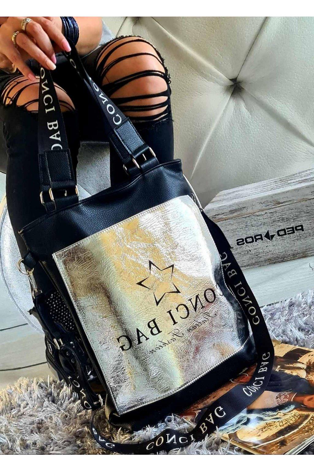 Marylin kabelka trendy italy style eko kůže koženka černostříbrná