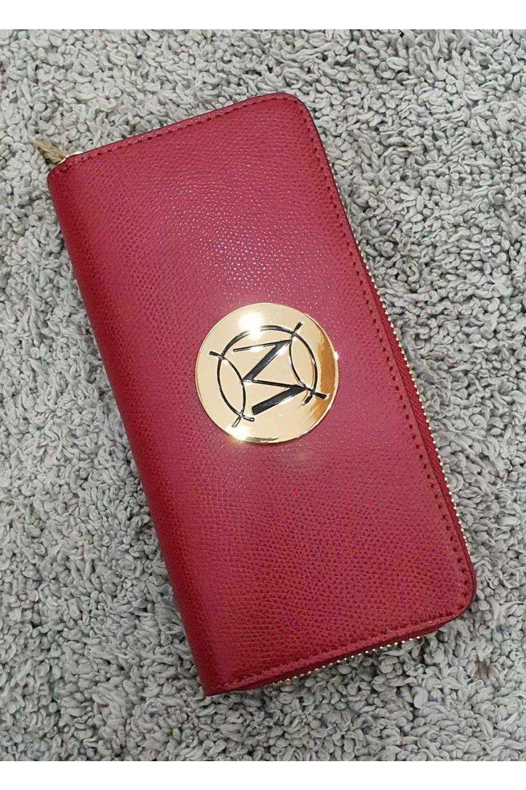 Značková dámská kožená peněženka Massimo červená