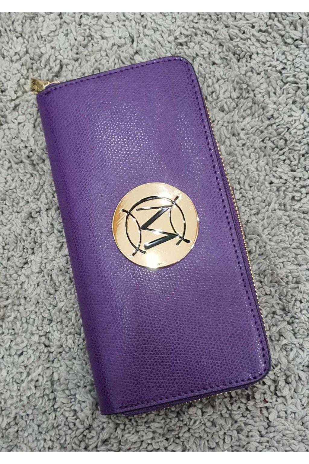 Značková dámská kožená peněženka Massimo fialová
