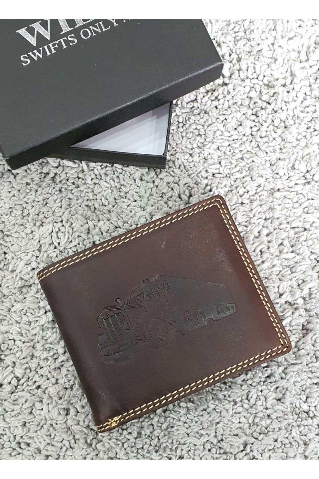 Pánská kožená peněženka s kamionem hnědá