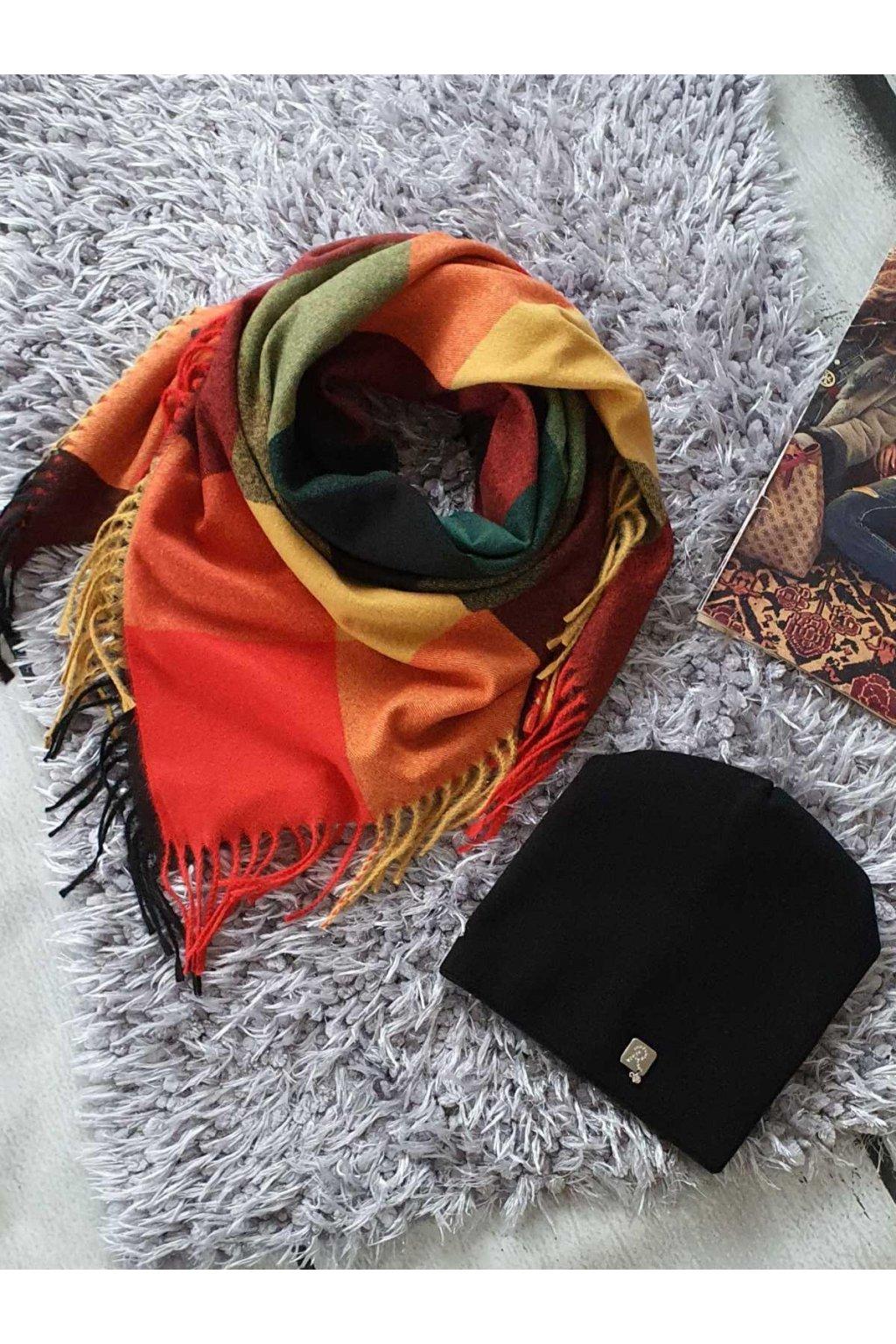 sladěný set šátku a čepice v červenožluté tip na dárek pro ženy a dívky
