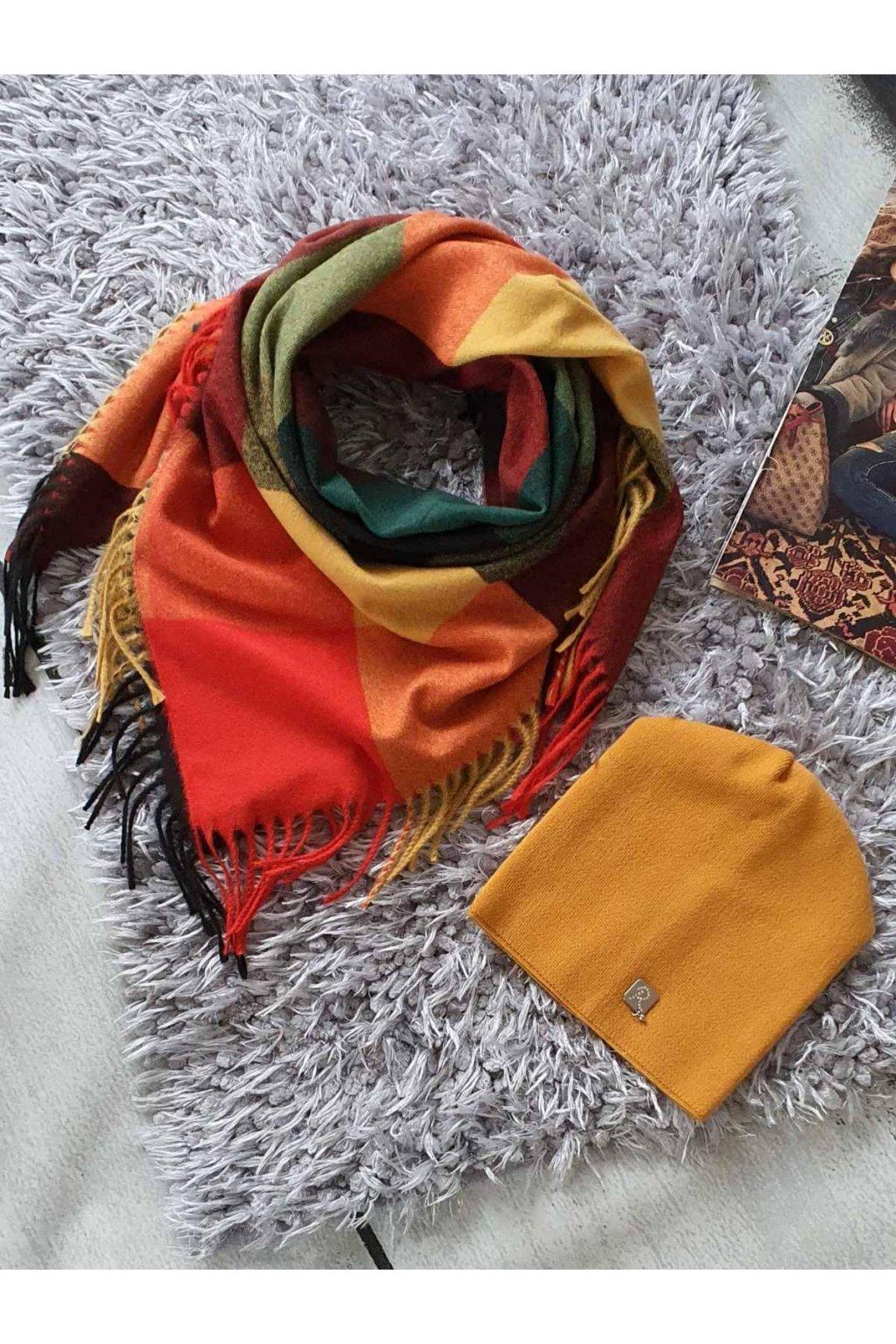 sladěný set šátku a čepice v červenožluté II tip na dárek pro ženy a dívky