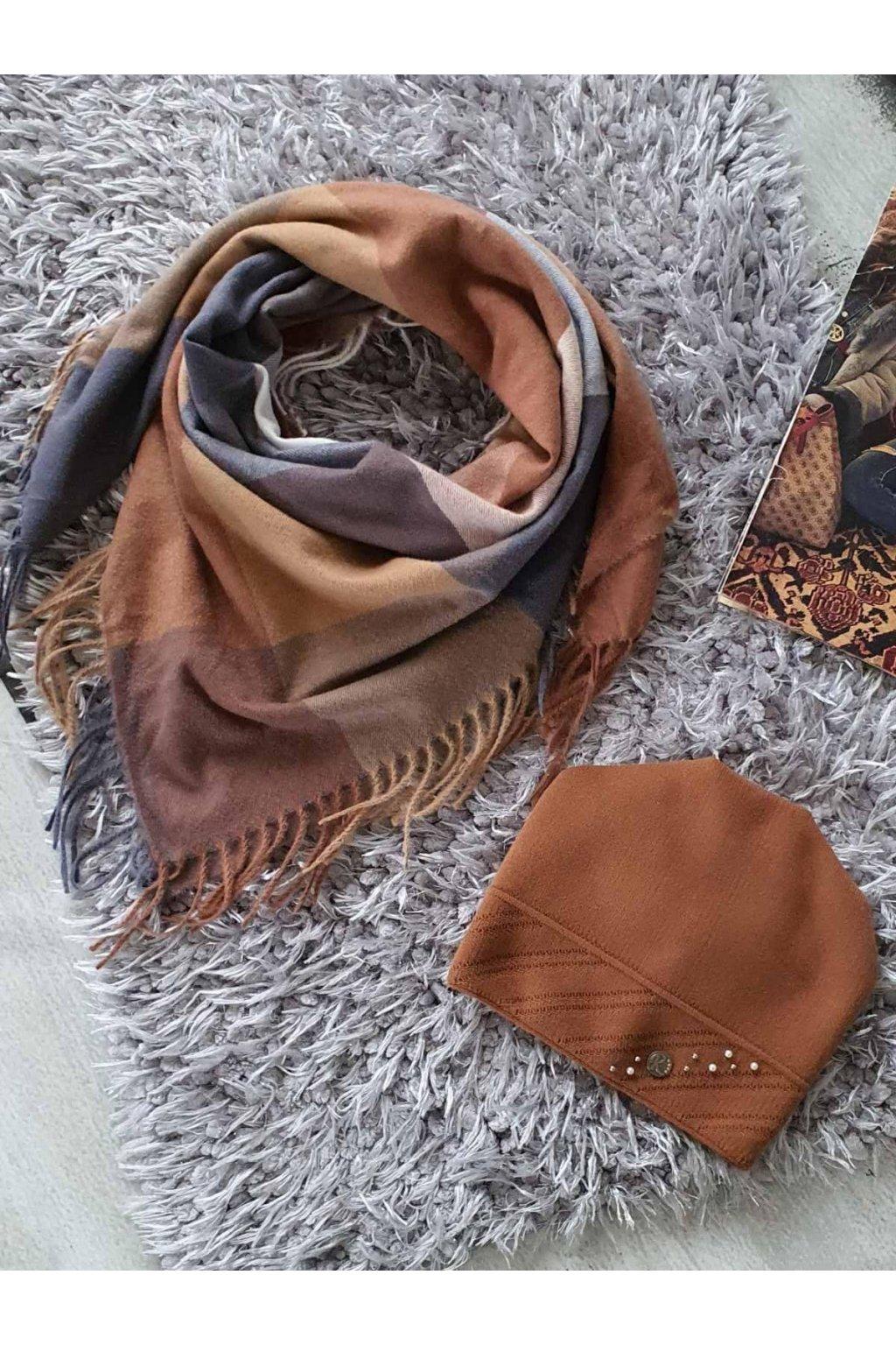 sladěný set šátku a čepice v hnědé tip na dárek pro ženy a dívky
