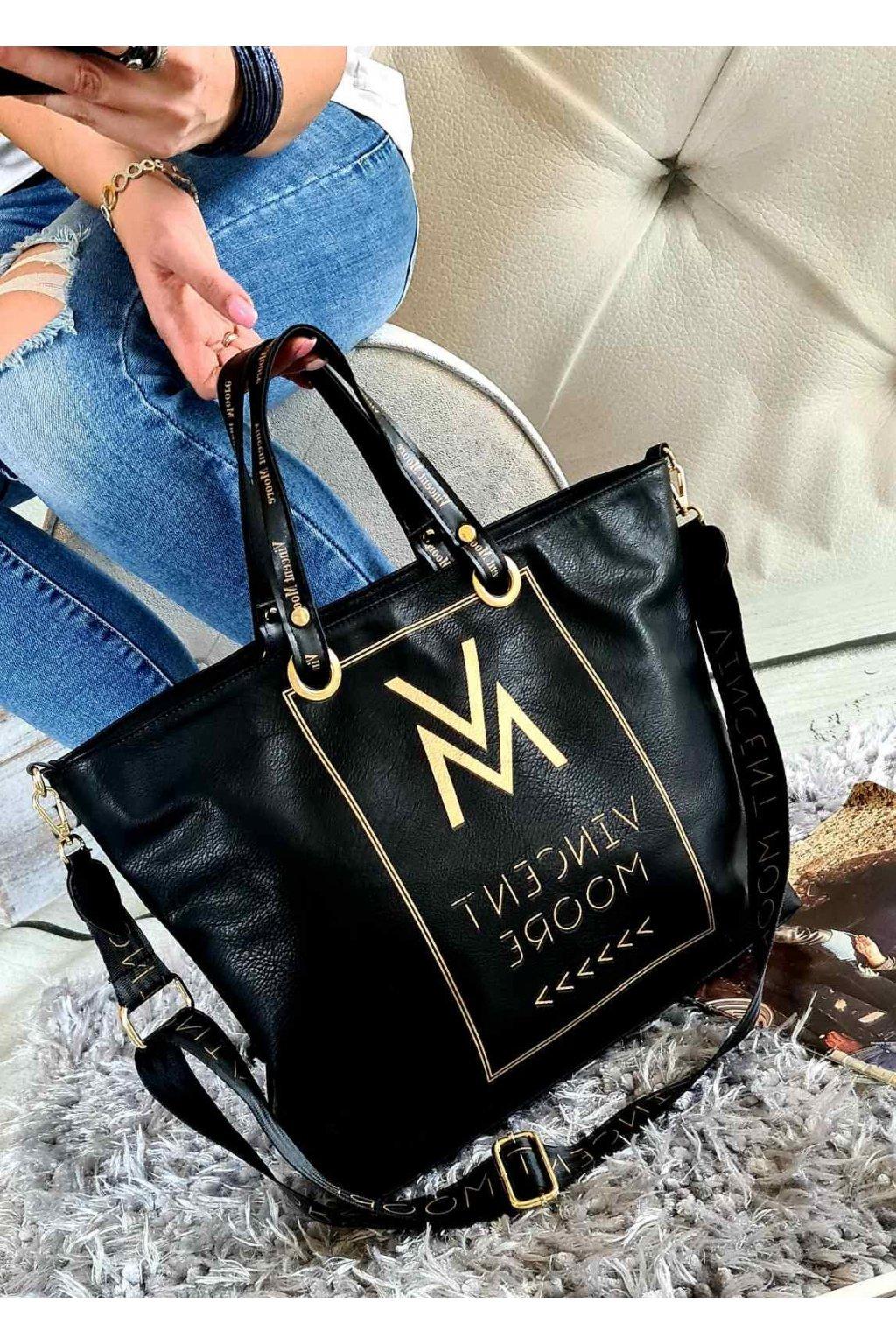 trendy eko kůže koženka kabelka černozlatá