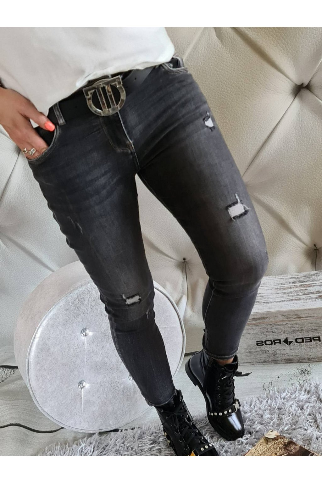 jeans černé elatické trendy