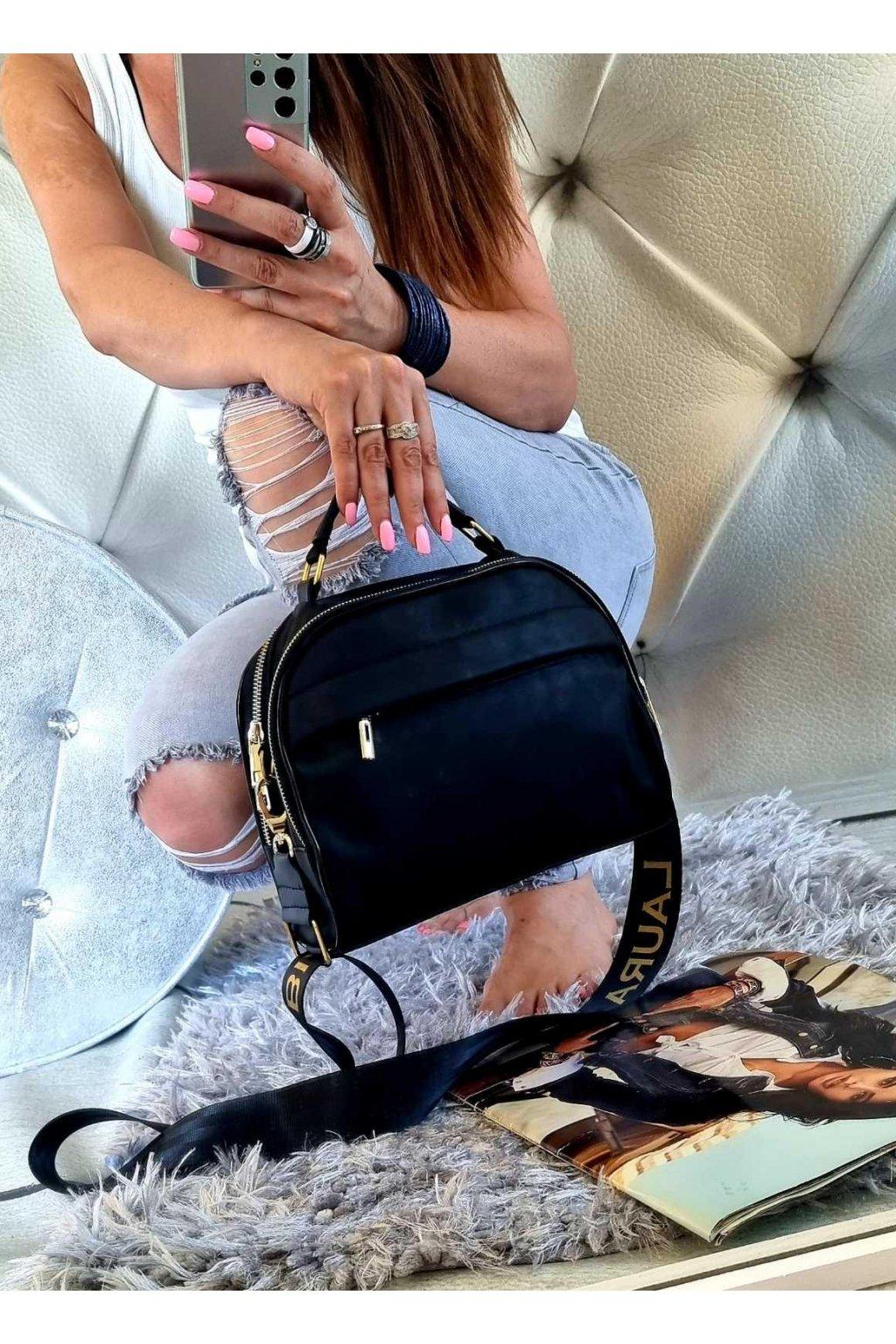 crossbody laura biaggi elegantní značková kabelka luxusní trendy černá