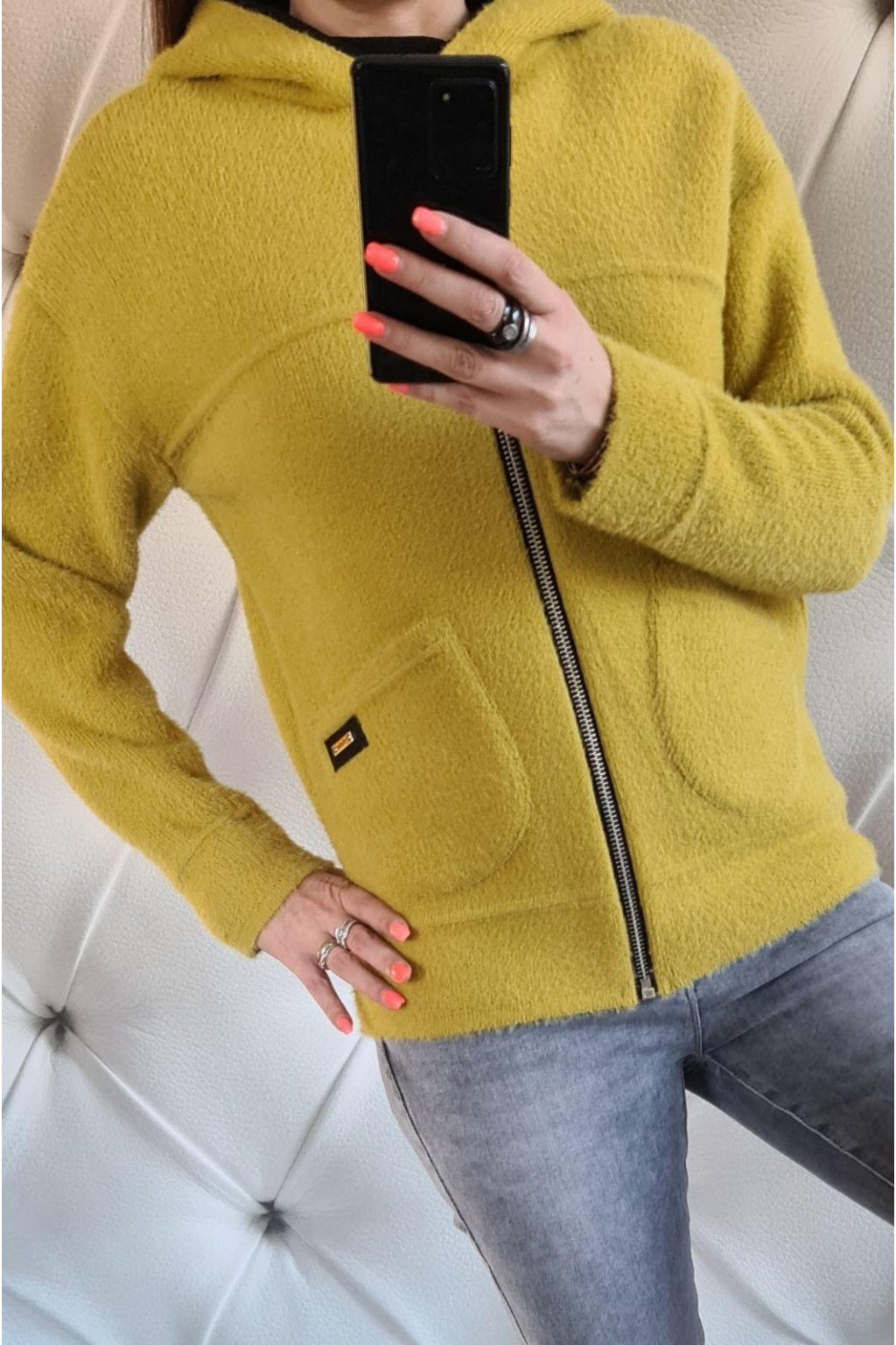 dámská bunda krátká žlutá