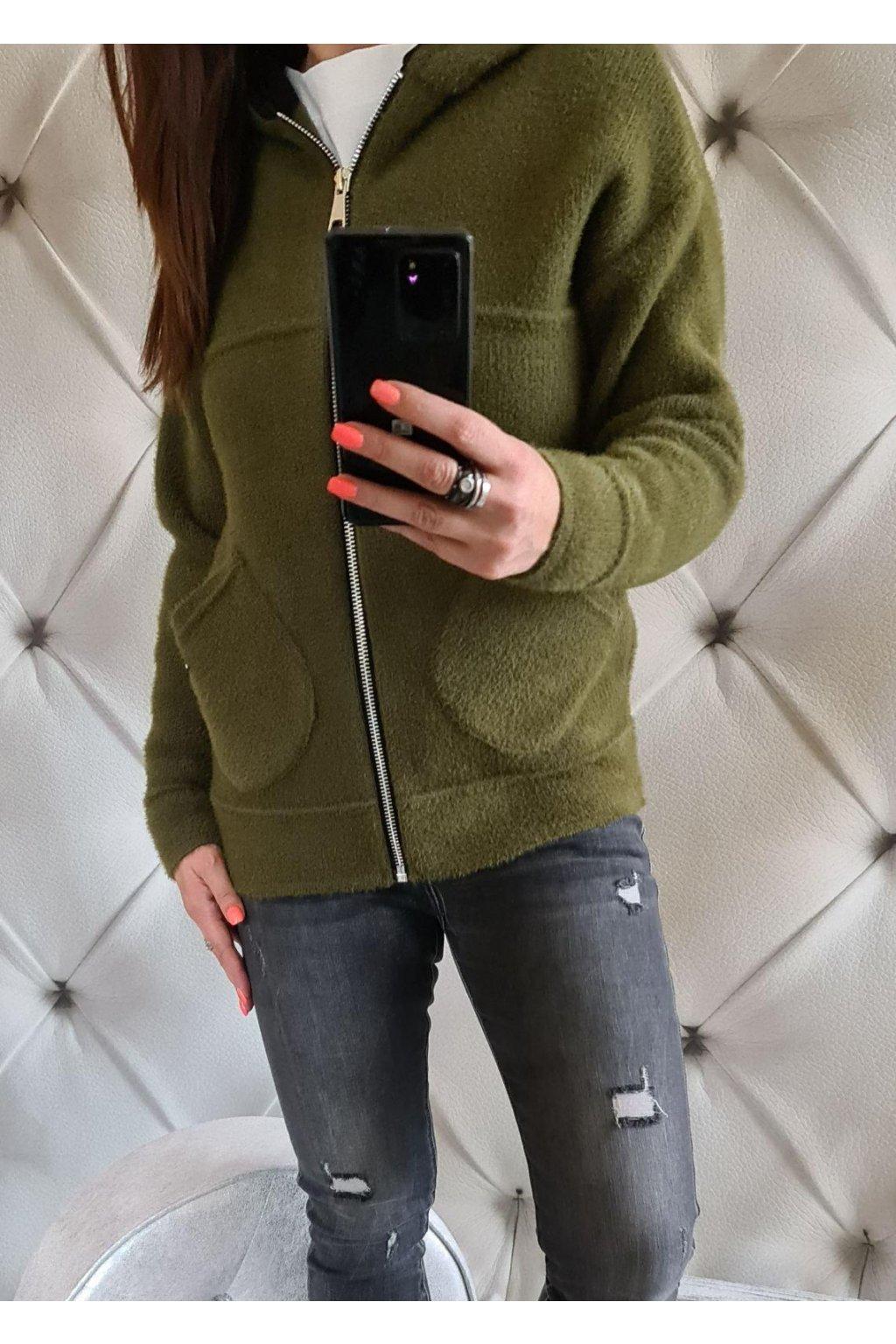 dámský zimní kabátek krátký khaki
