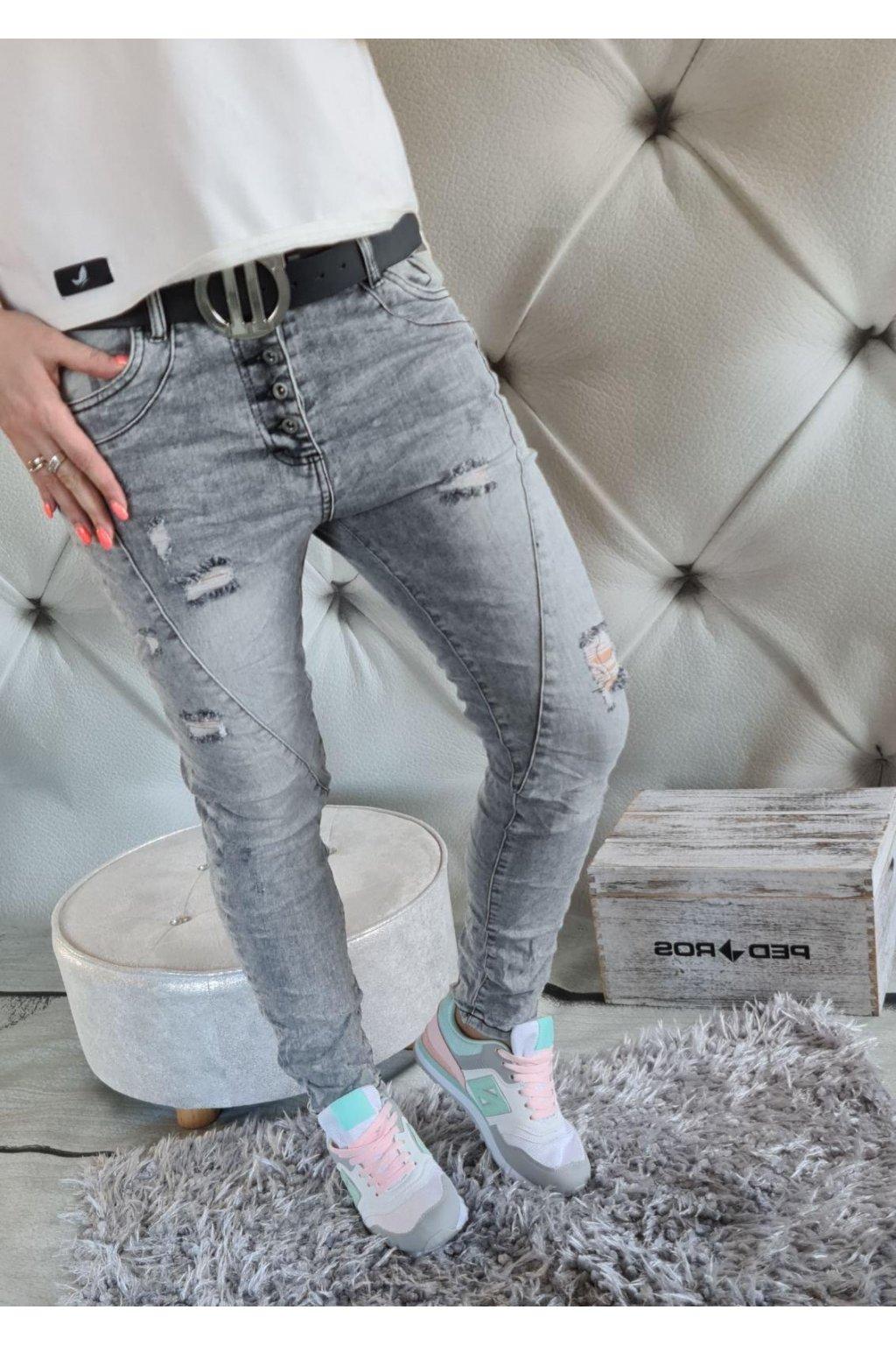 jeans šedé trhané boyfriendy