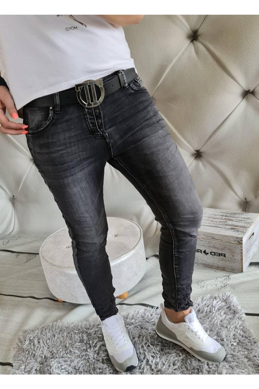 jeans elastické pohodlné černé