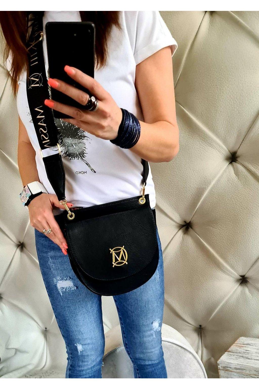MASSIMO contti klopna černá jednoduchá kabelka italy style