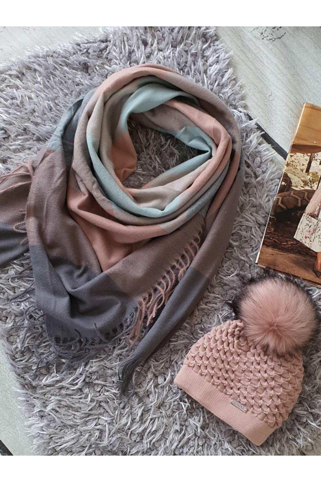 sladěný set čepice a maxišátku do růžova a mentolové barvy tip na dárek