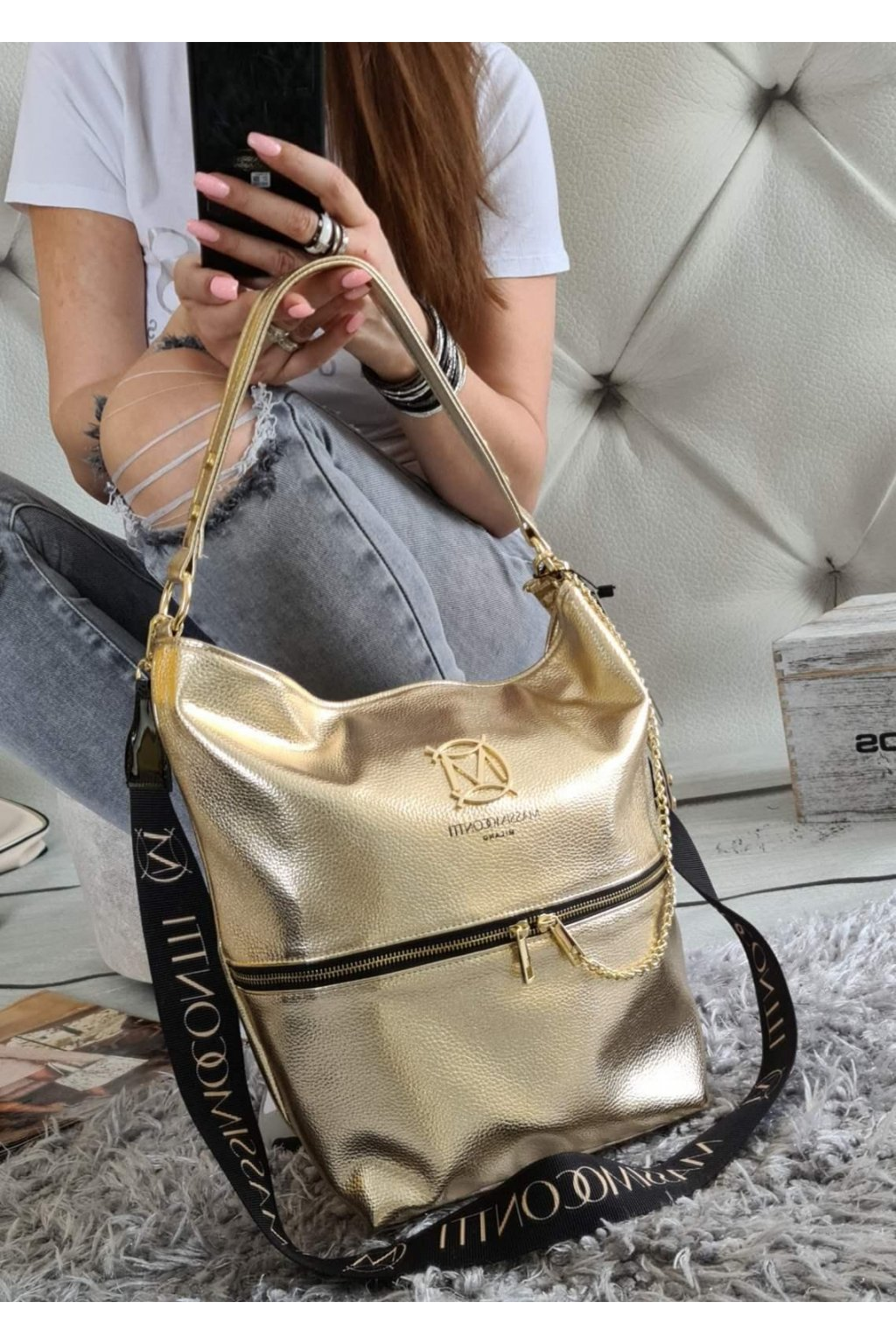 MASSIMO CONTTI italy style kabelka trendy gold zlatá eko kůže syntetika