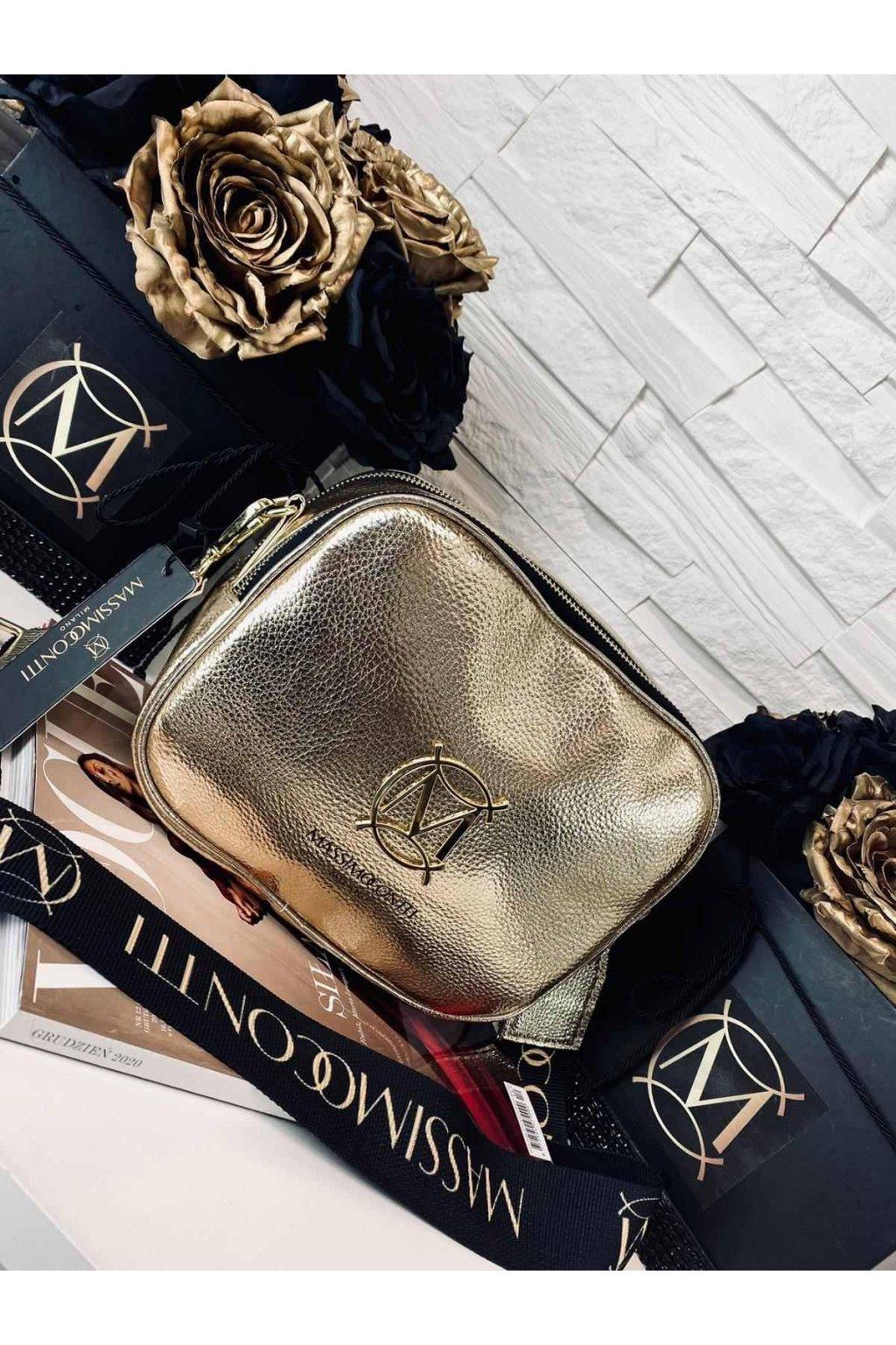 kabelka CROSSBODY massimo contti styl italy eko kůže koženka eleganto zlatá barva